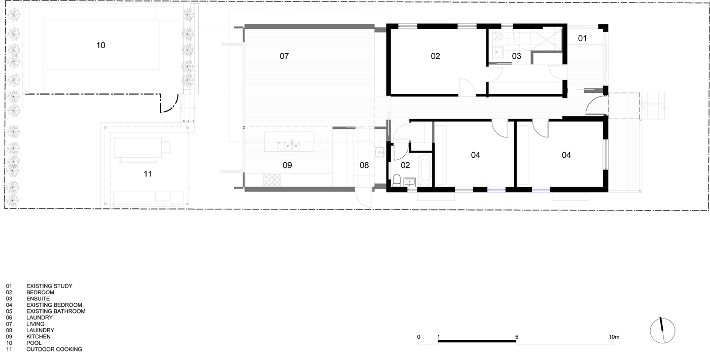Lambert House by Sydney award winning residential architecture office Sam Crawford Architects. Floor plan showing new extension to the existing house.