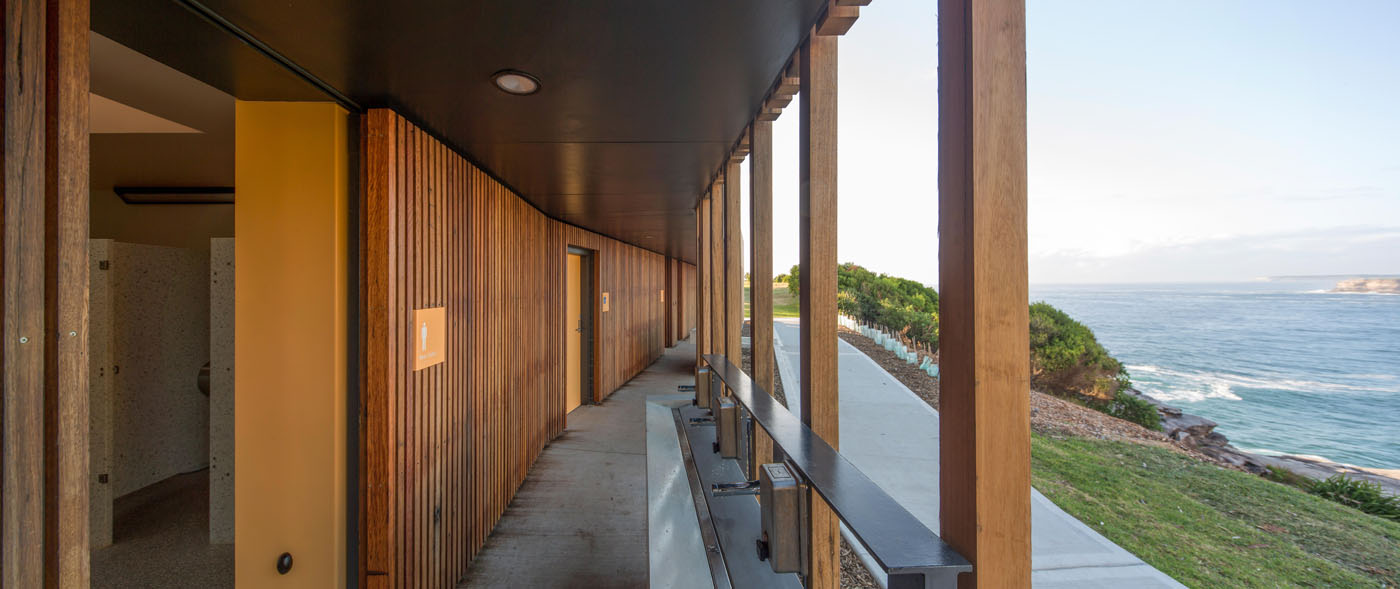 Marks Park Amenities by Sam Crawford Architects, view along central walkway