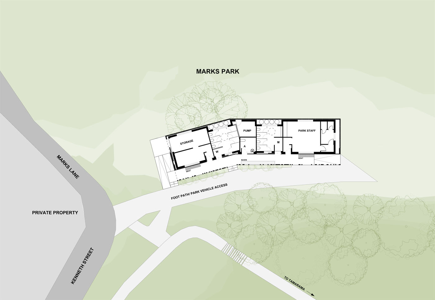 Marks Park Amenities by Sam Crawford Architects, floor plan