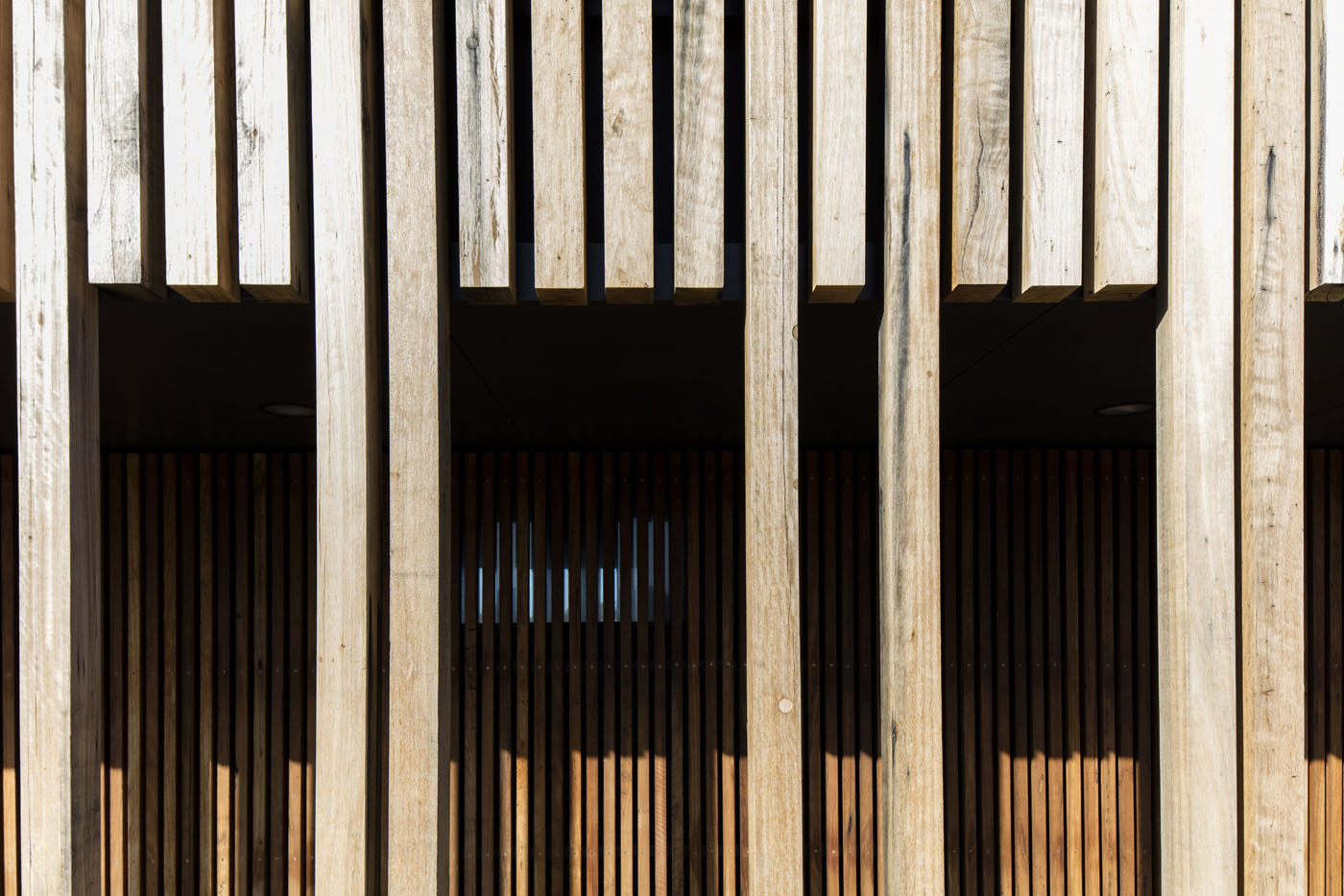 Marks Park Amenities by Sam Crawford Architects, detail of recycled timber cladding