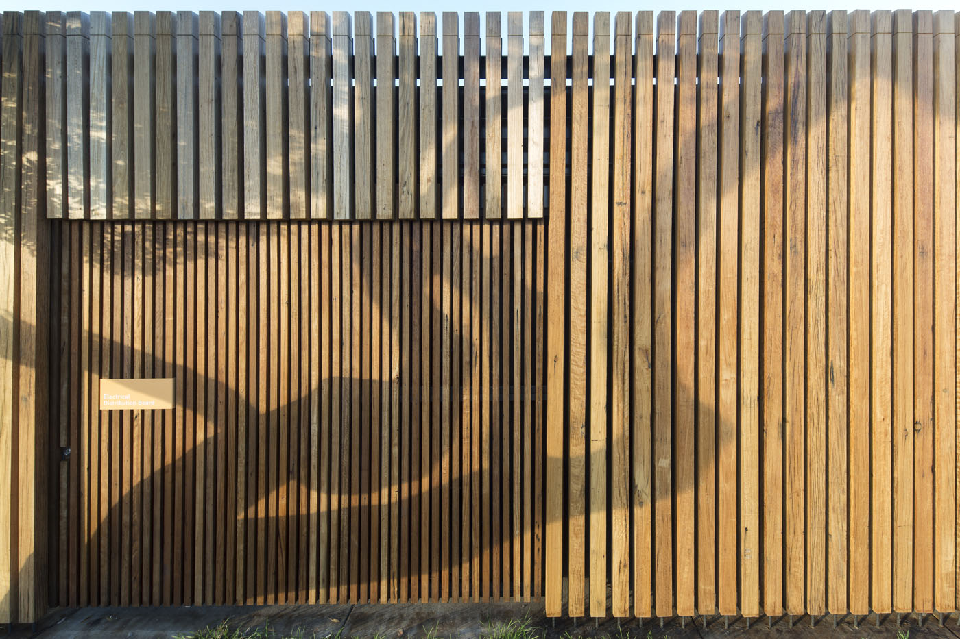 Marks Park Amenities by Sam Crawford Architects, recycled timber cladding