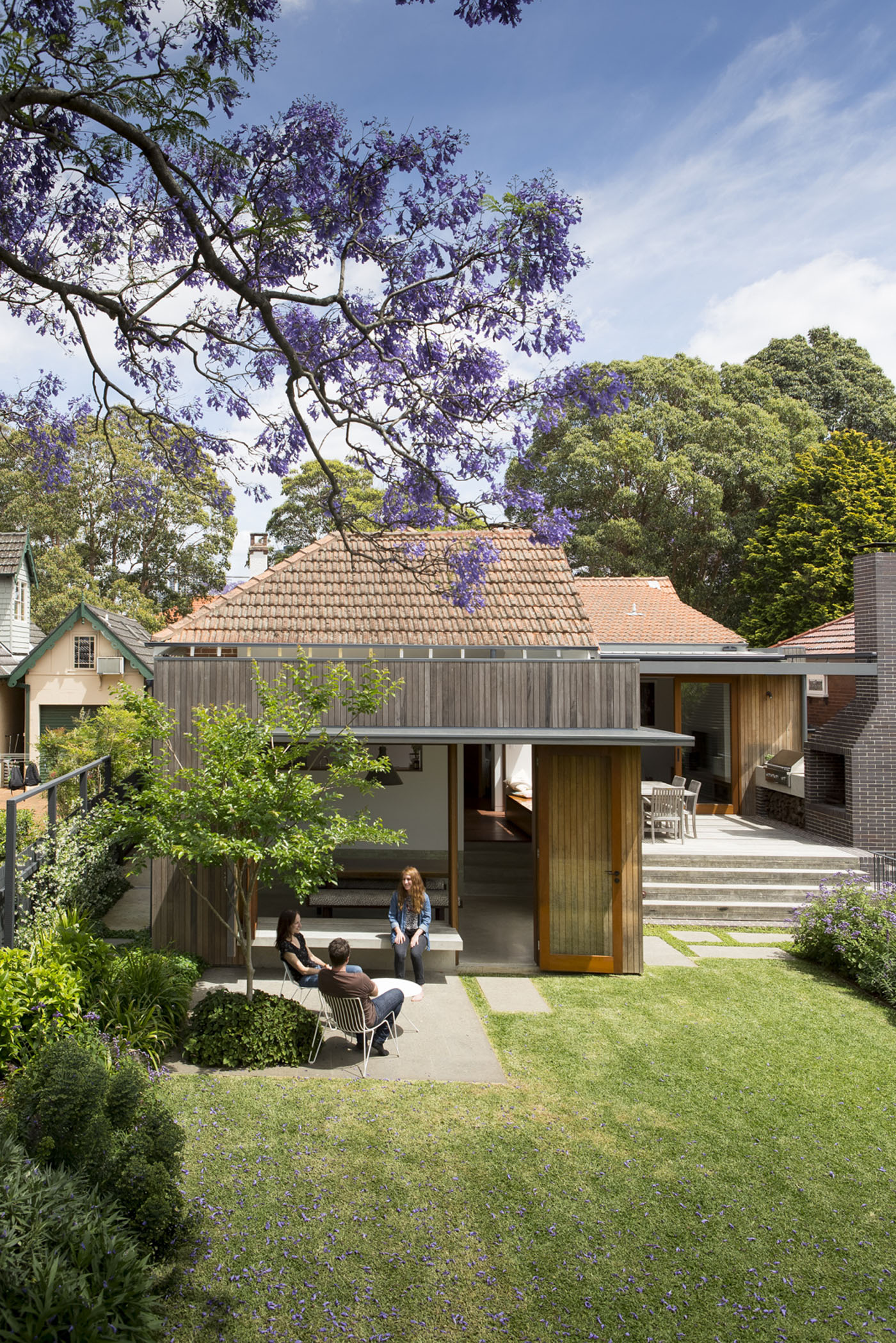 Denney House by Sam Crawford Architects, backyard exterior view