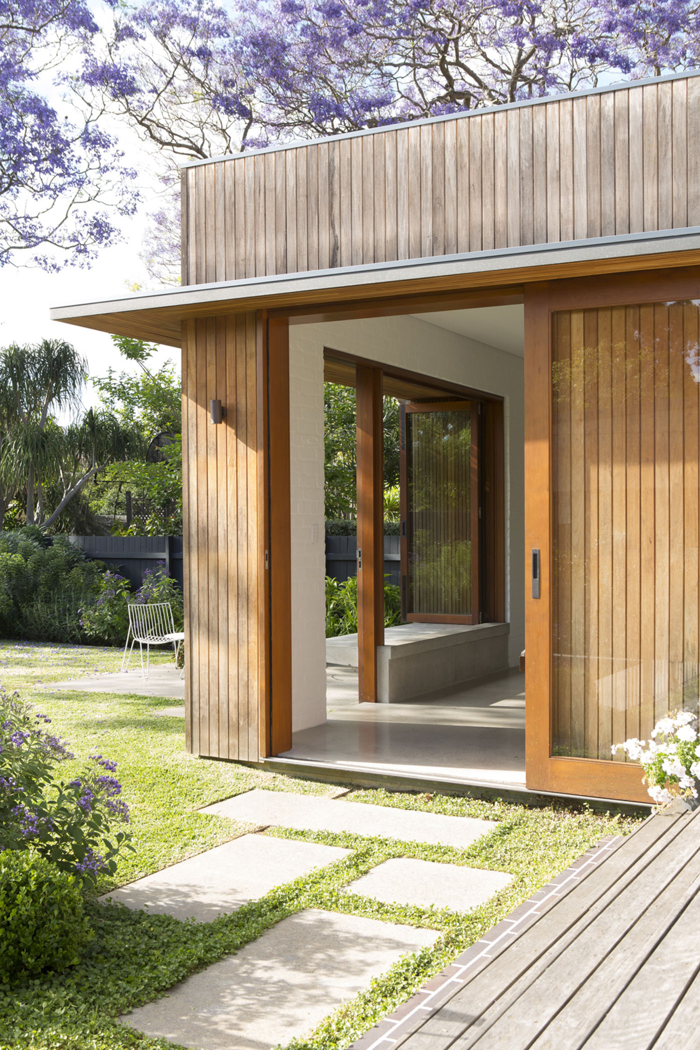 Denney House by Sam Crawford Architects, wooden window detail.
