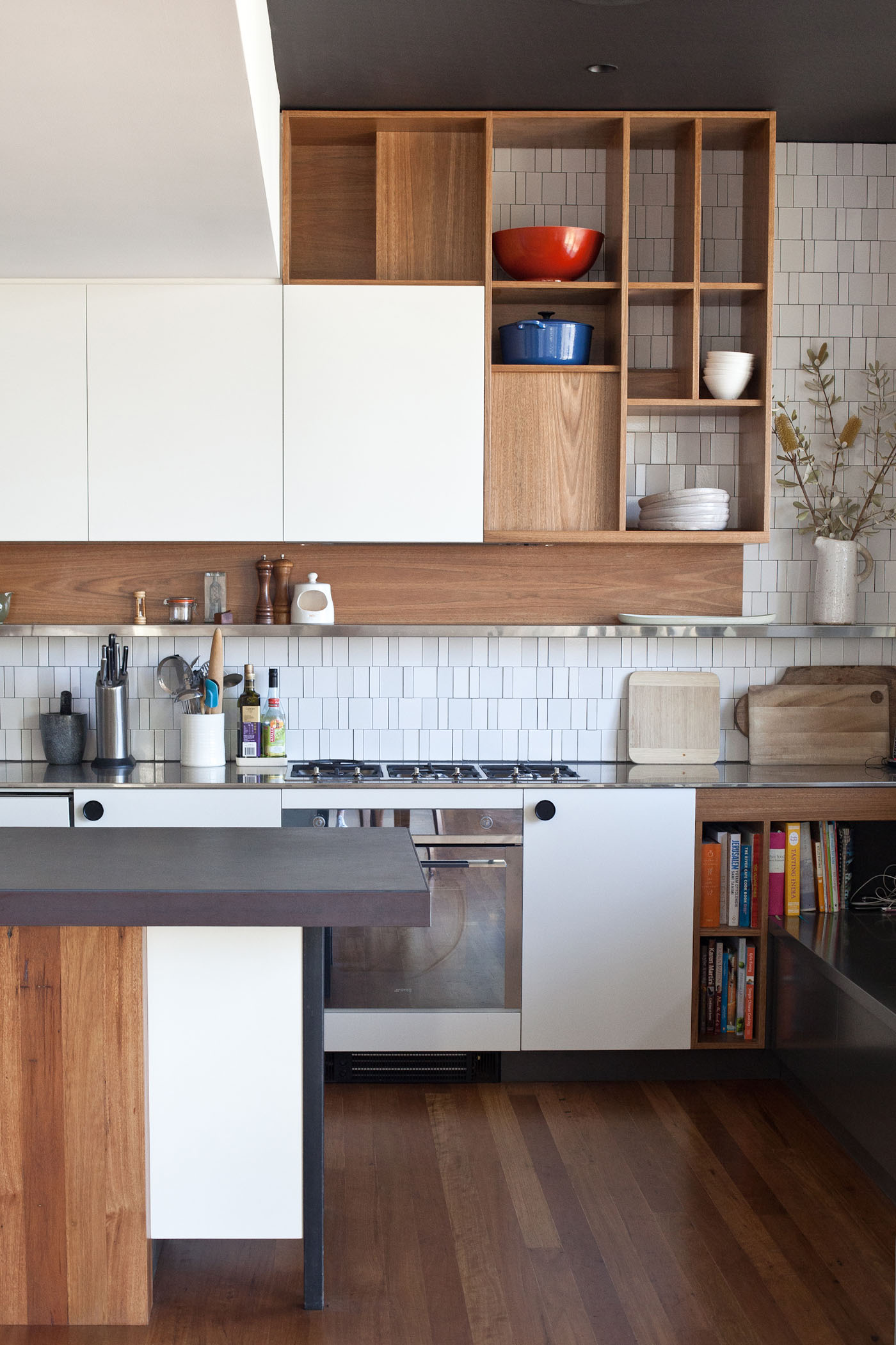 Balmain Cottage by award winning Sydney firm Sam Crawford Architects. Detail of tasteful oak and white joinery