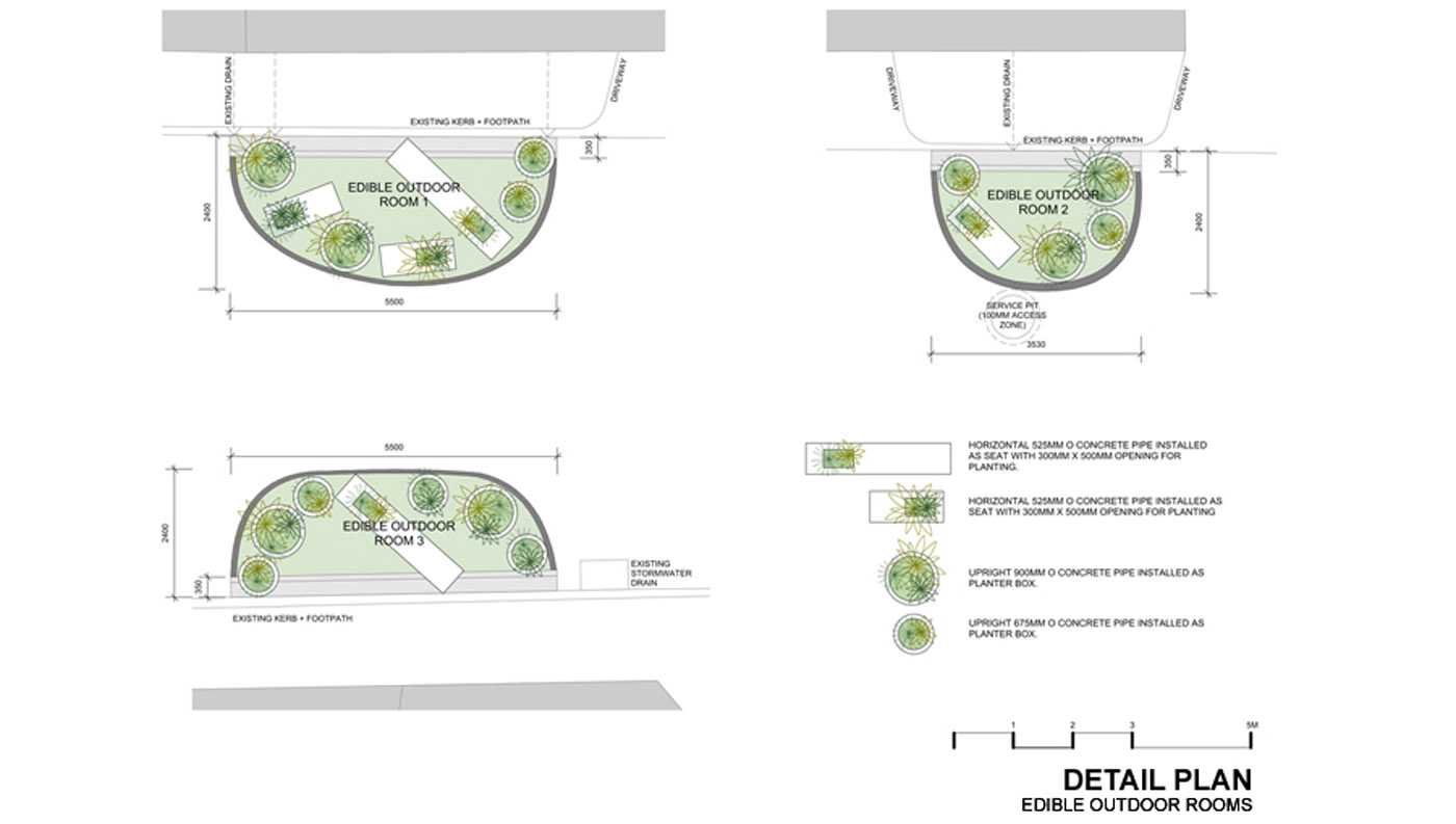 Edible Outdoor Rooms by Sydney award winning architecture office Sam Crawford Architects. Rendered site plans