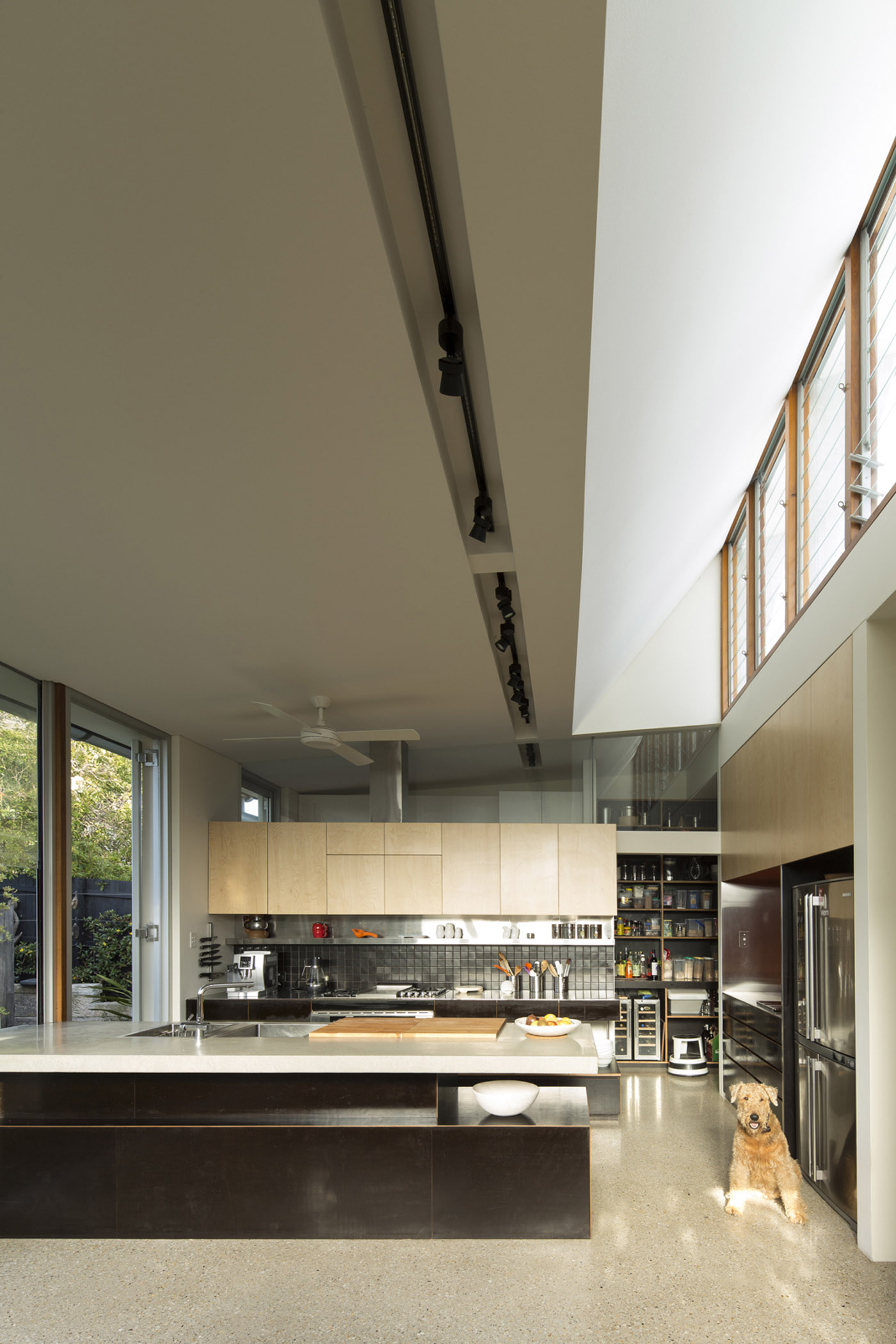 Salgo Kitching House by Sydney award winning architecture office Sam Crawford Architects. Celestial windows allow sunlight penetration to the interior.