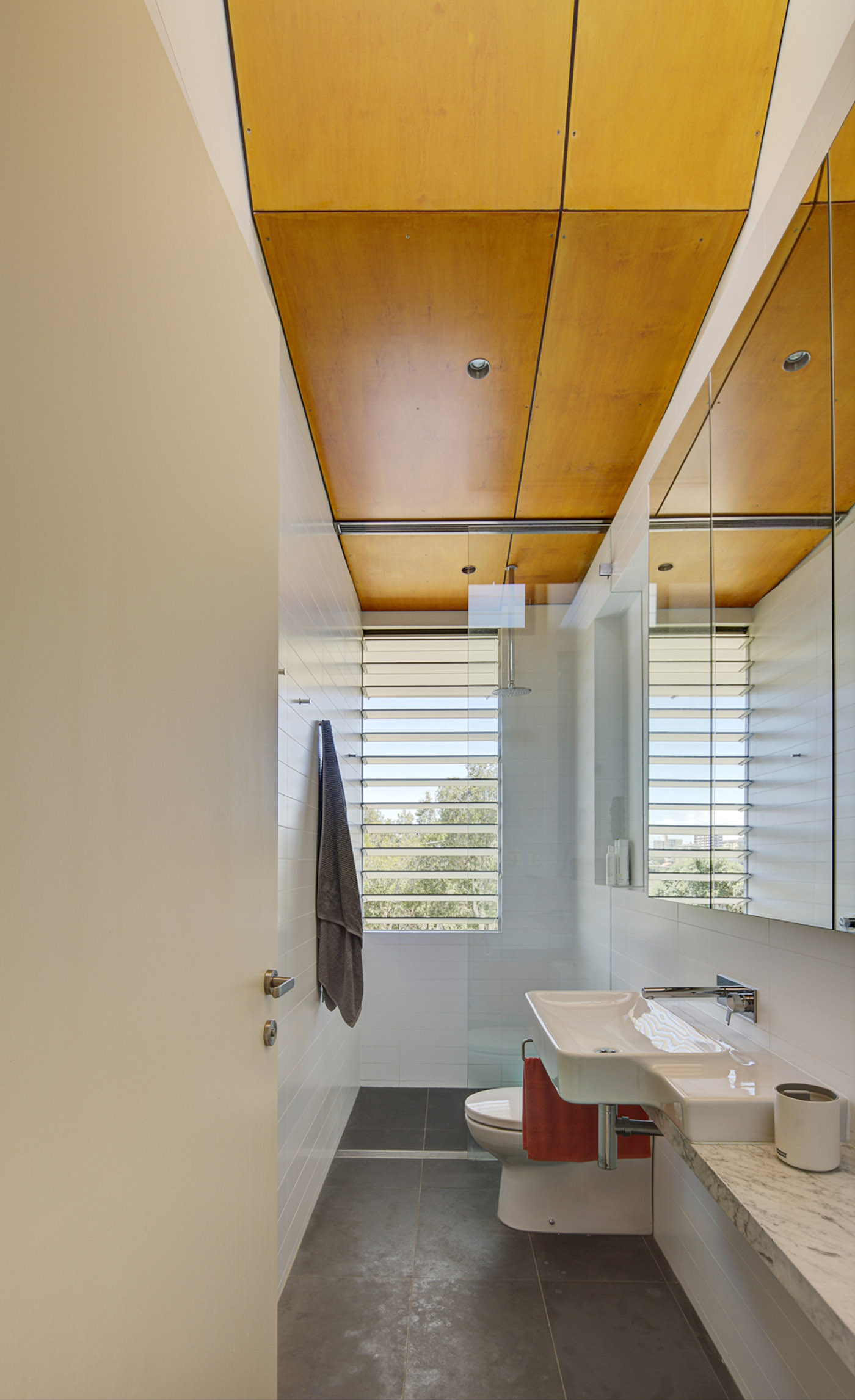 Salgo Kitching House by Sydney award winning architecture office Sam Crawford Architects. View of simple bathroom featuring brigh timber ceiling lining