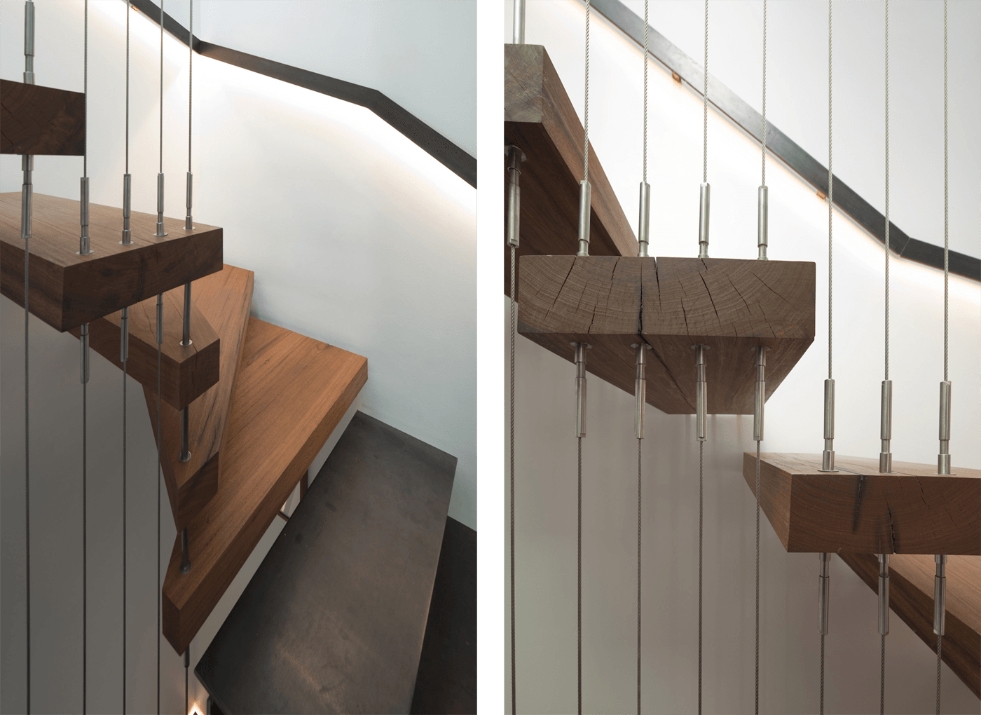 Newtown Terrace by award winning Sydney firm Sam Crawford Architects. Detail of solid timber stair treads and stainless steel rod balustrade