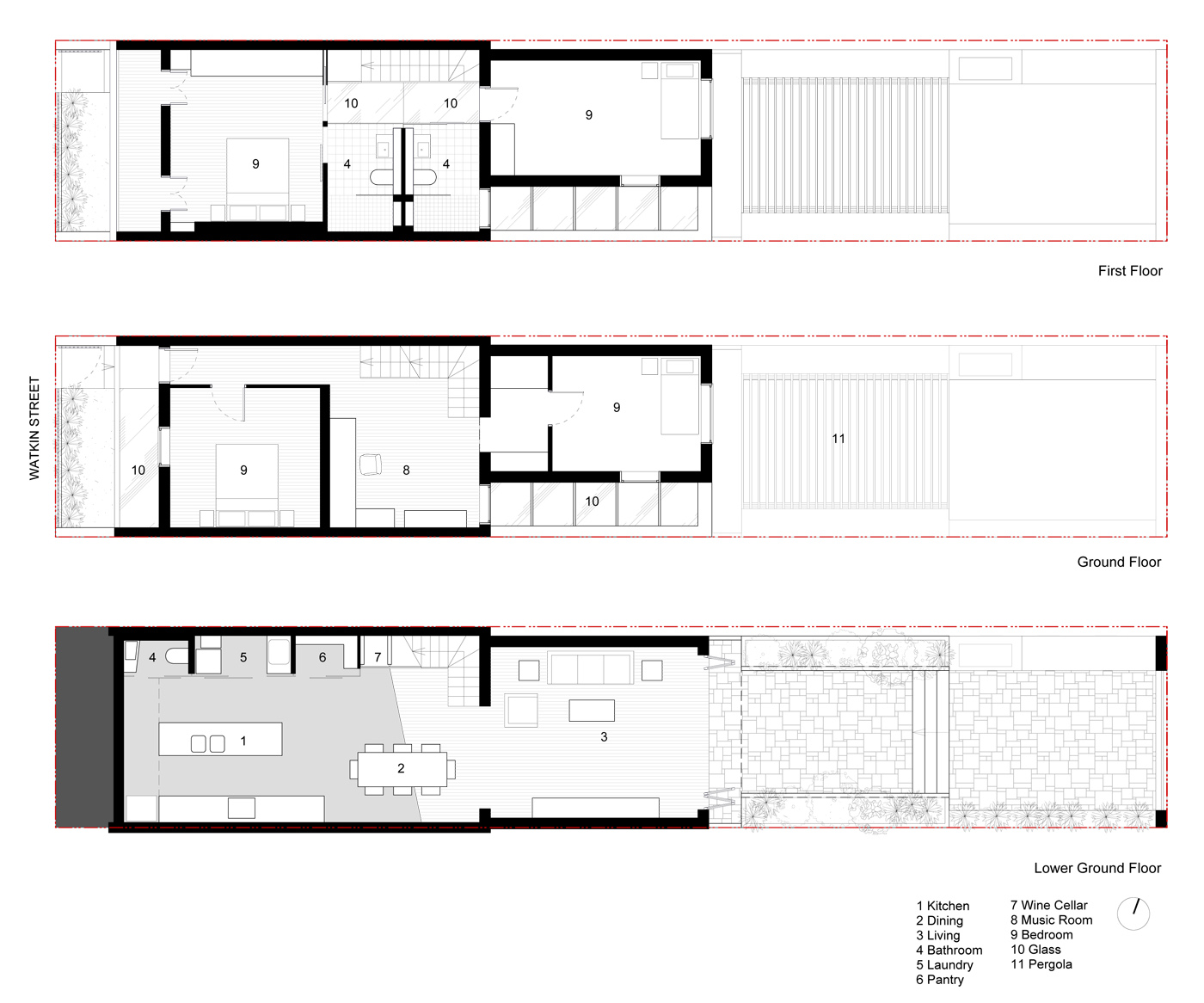 Newtown Terrace by award winning Sydney firm Sam Crawford Architects. Floor Plans of the house.