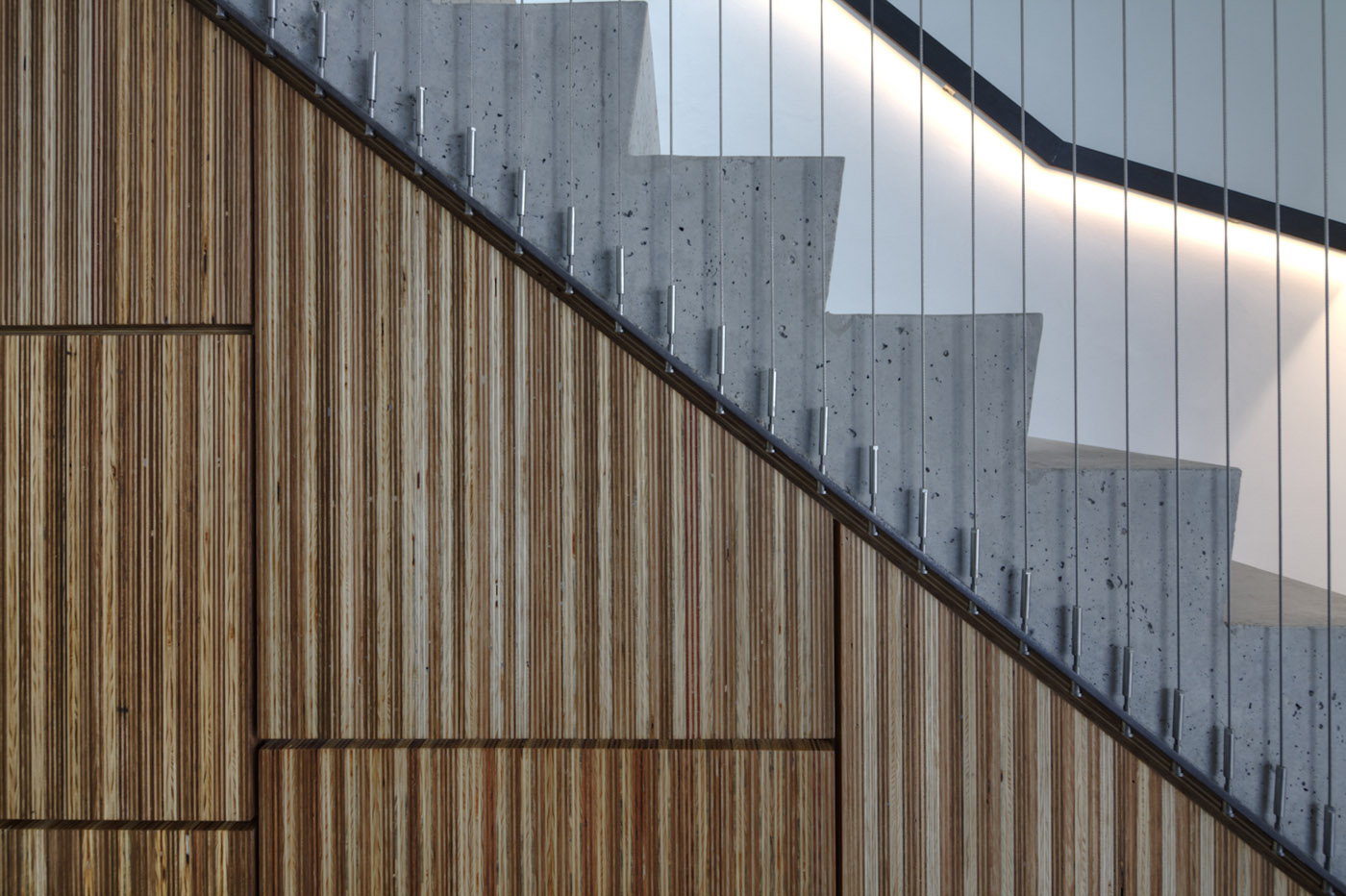 Newtown Terrace by award winning Sydney firm Sam Crawford Architects. Detail of concrete staircase with steel rods and timber cladding.