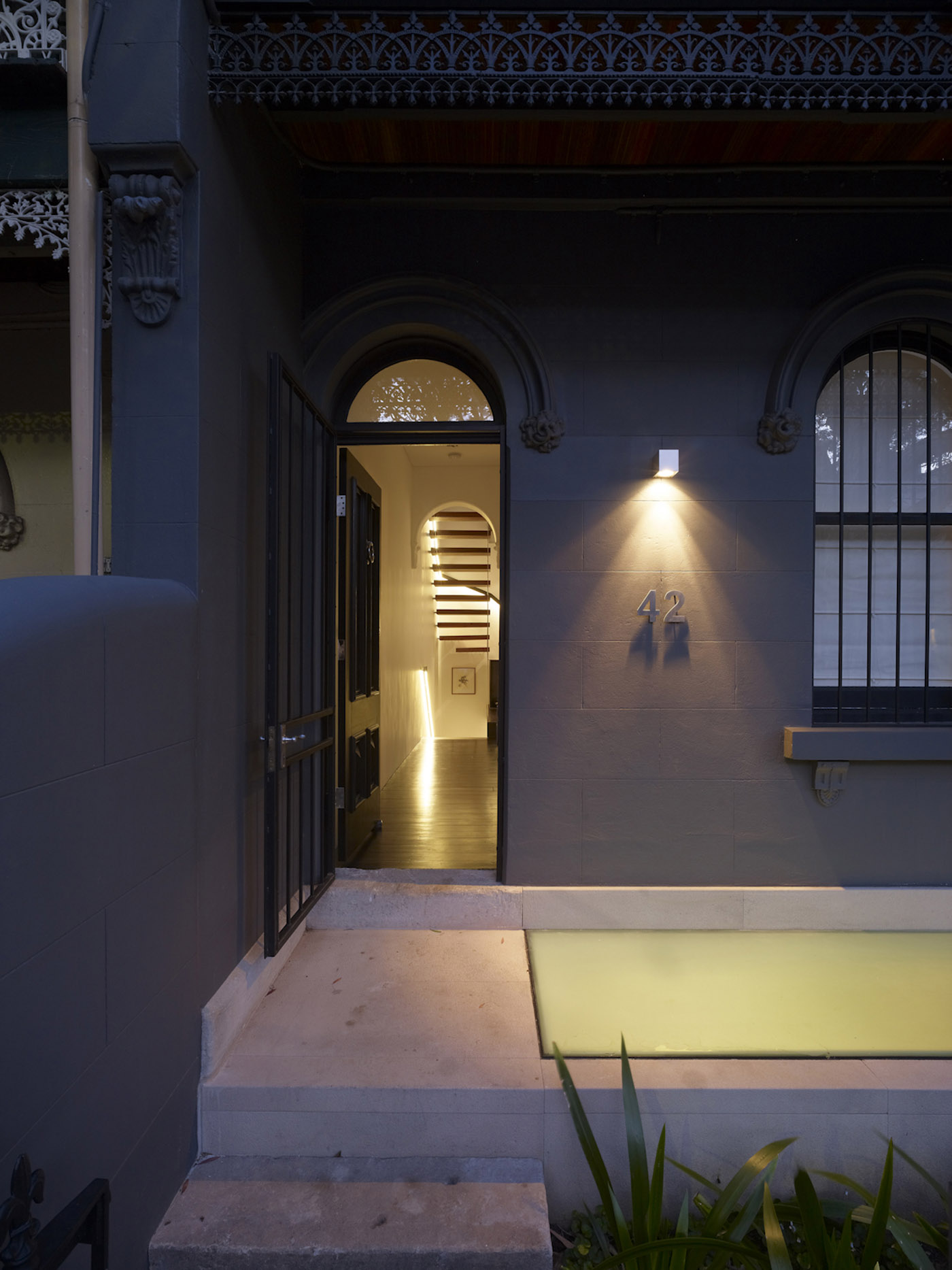 Newtown Terrace by award winning Sydney firm Sam Crawford Architects. View of the entry