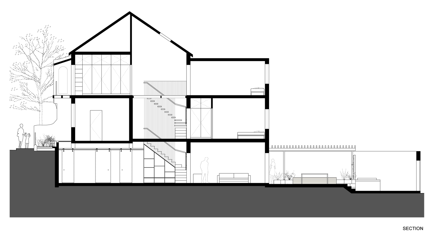 Newtown Terrace by award winning Sydney firm Sam Crawford Architects. Section drawing of the house.