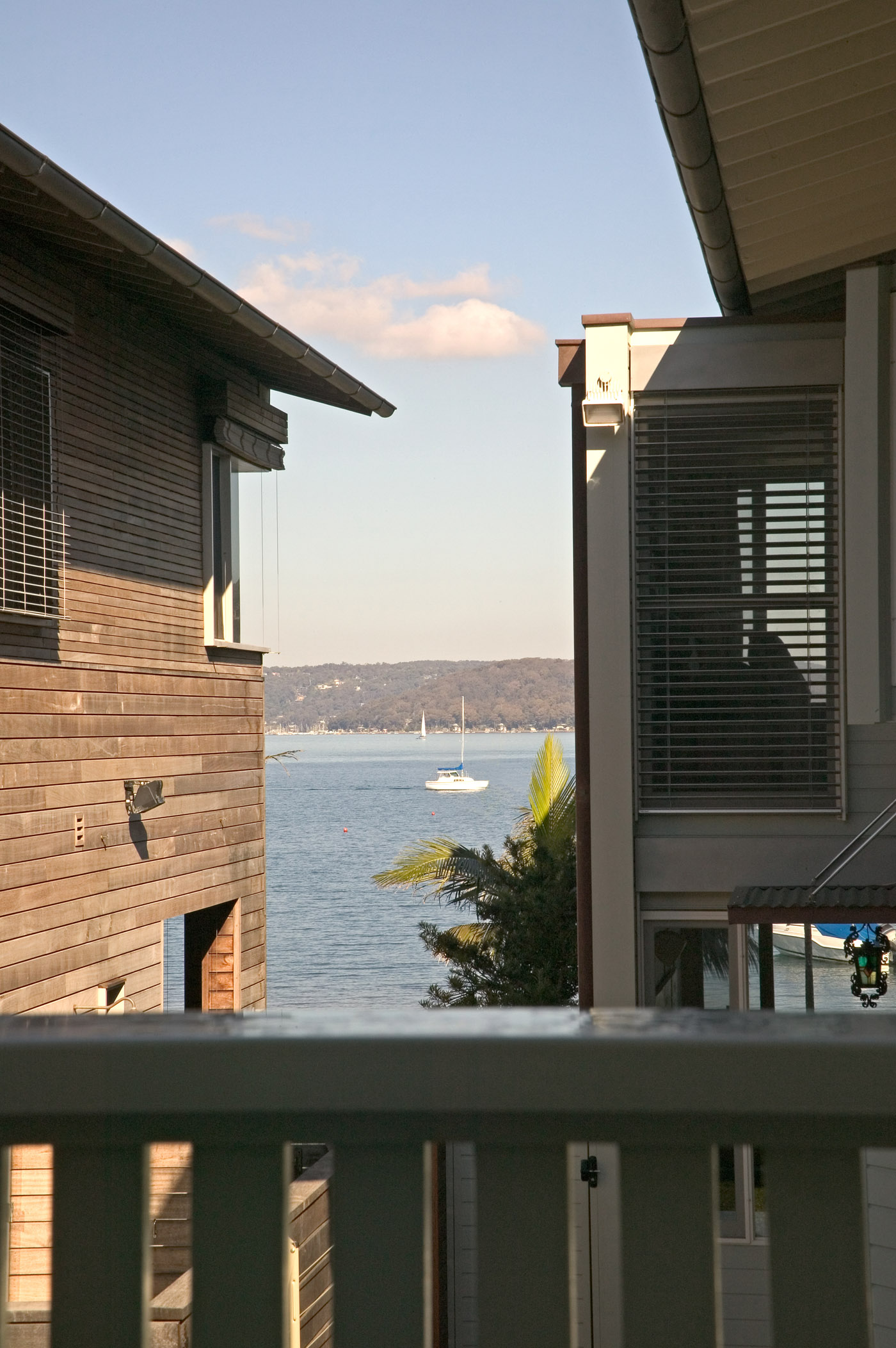 Pittwater House by Sydney award winning residential architecture office Sam Crawford Architects. View to open water.