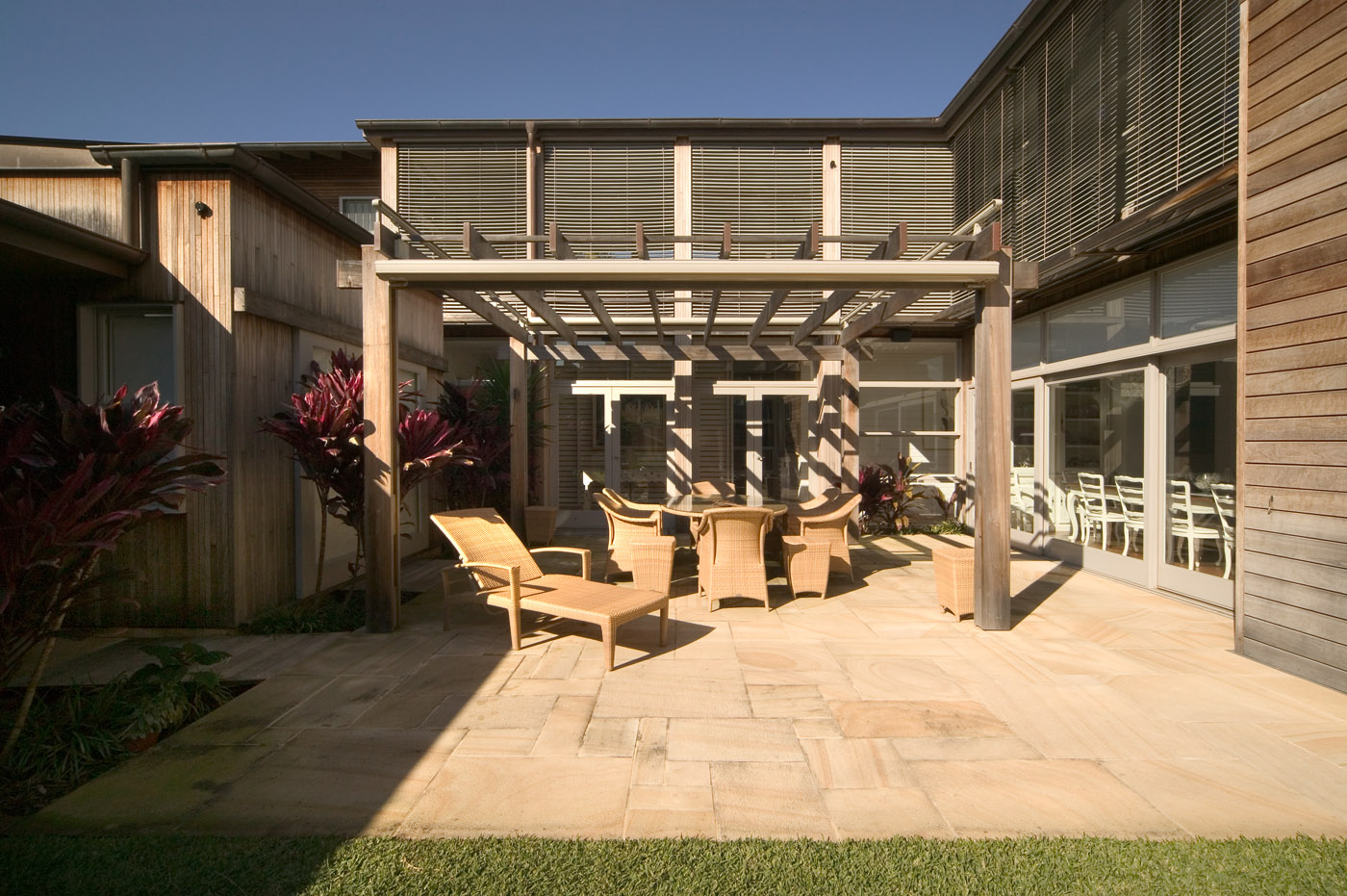 Pittwater House by Sydney award winning residential architecture office Sam Crawford Architects. Outdoor seating pergola