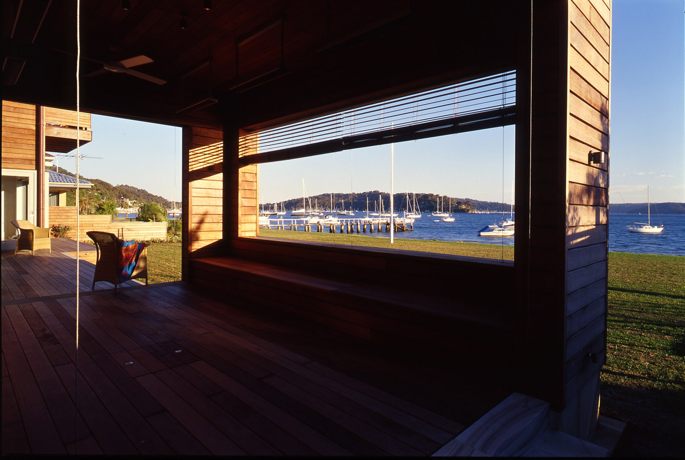 Pittwater House by Sydney award winning residential architecture office Sam Crawford Architects. Panoramic view to open water.