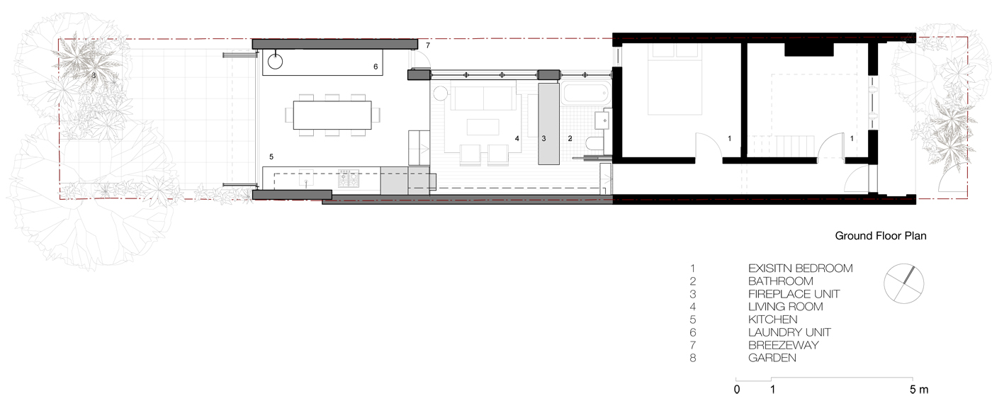 Wake Murphy House by Sydney award winning residential architecture office Sam Crawford Architects. Proposed ground floor plan