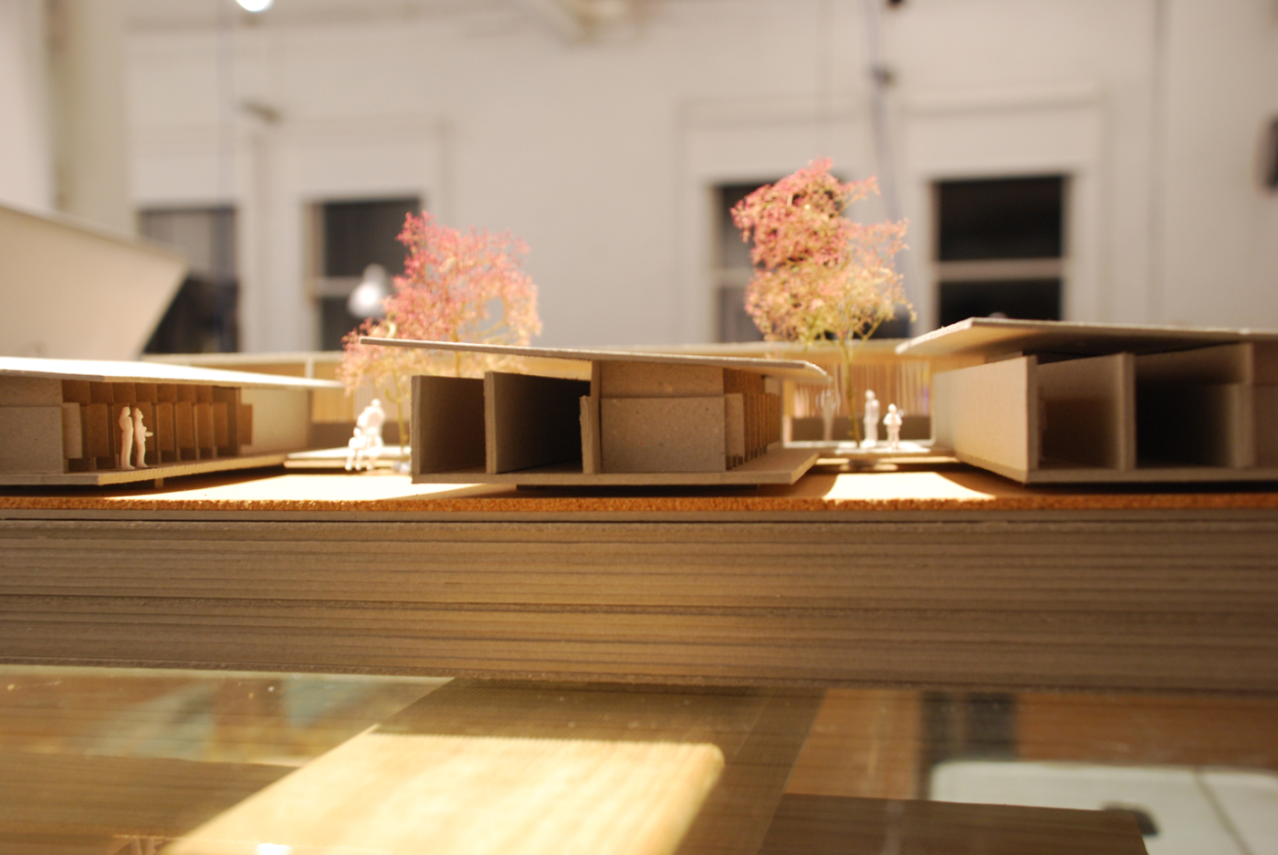 The Shelter by Sam Crawford Architects, grey boxboard and cork model of dog kennels