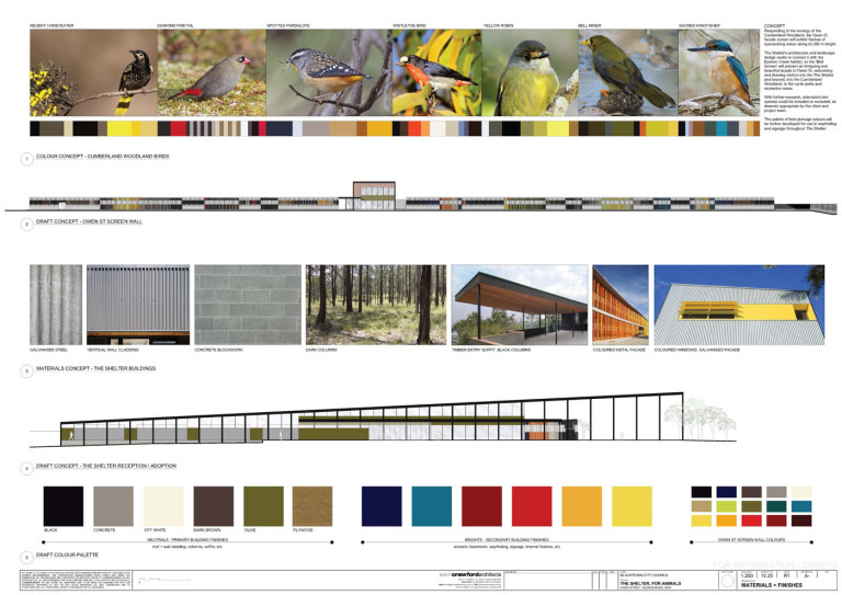 The Shelter by Sam Crawford Architects, material and colour palette