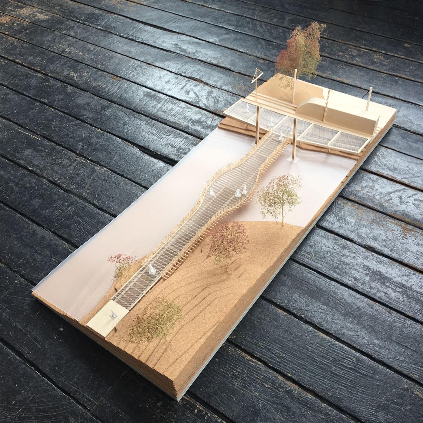 Alison Road Bridge by Sydney award winning architecture office Sam Crawford Architects. Balsa wood and metal mesh presentation model.
