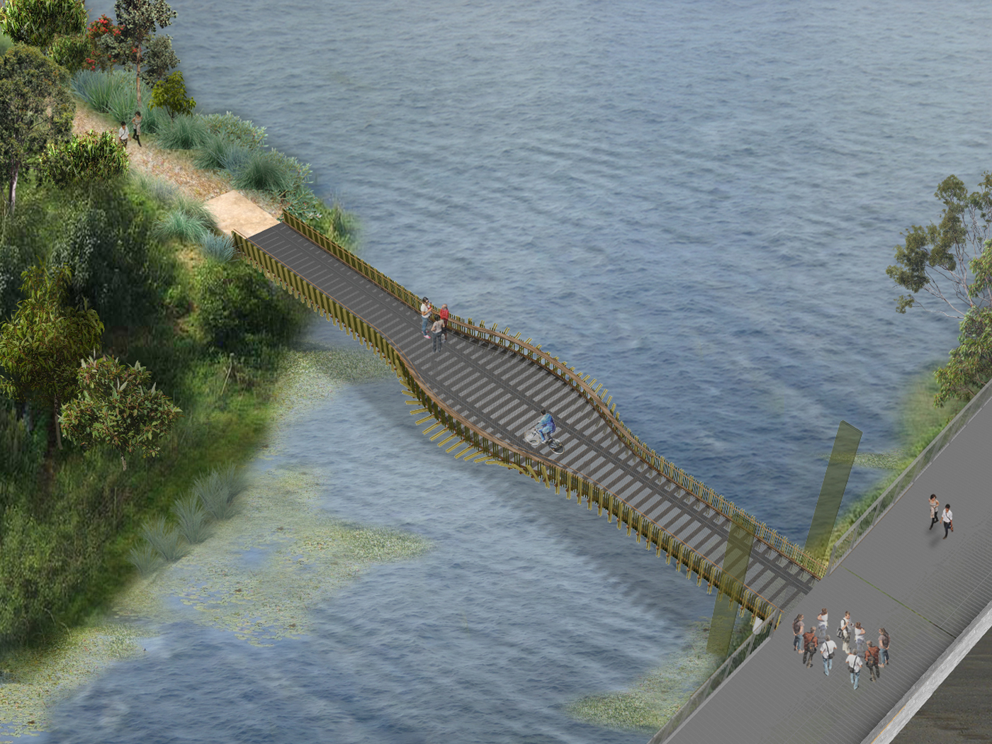 Alison Road Bridge by Sydney award winning architecture office Sam Crawford Architects. Rendered aerial perspective