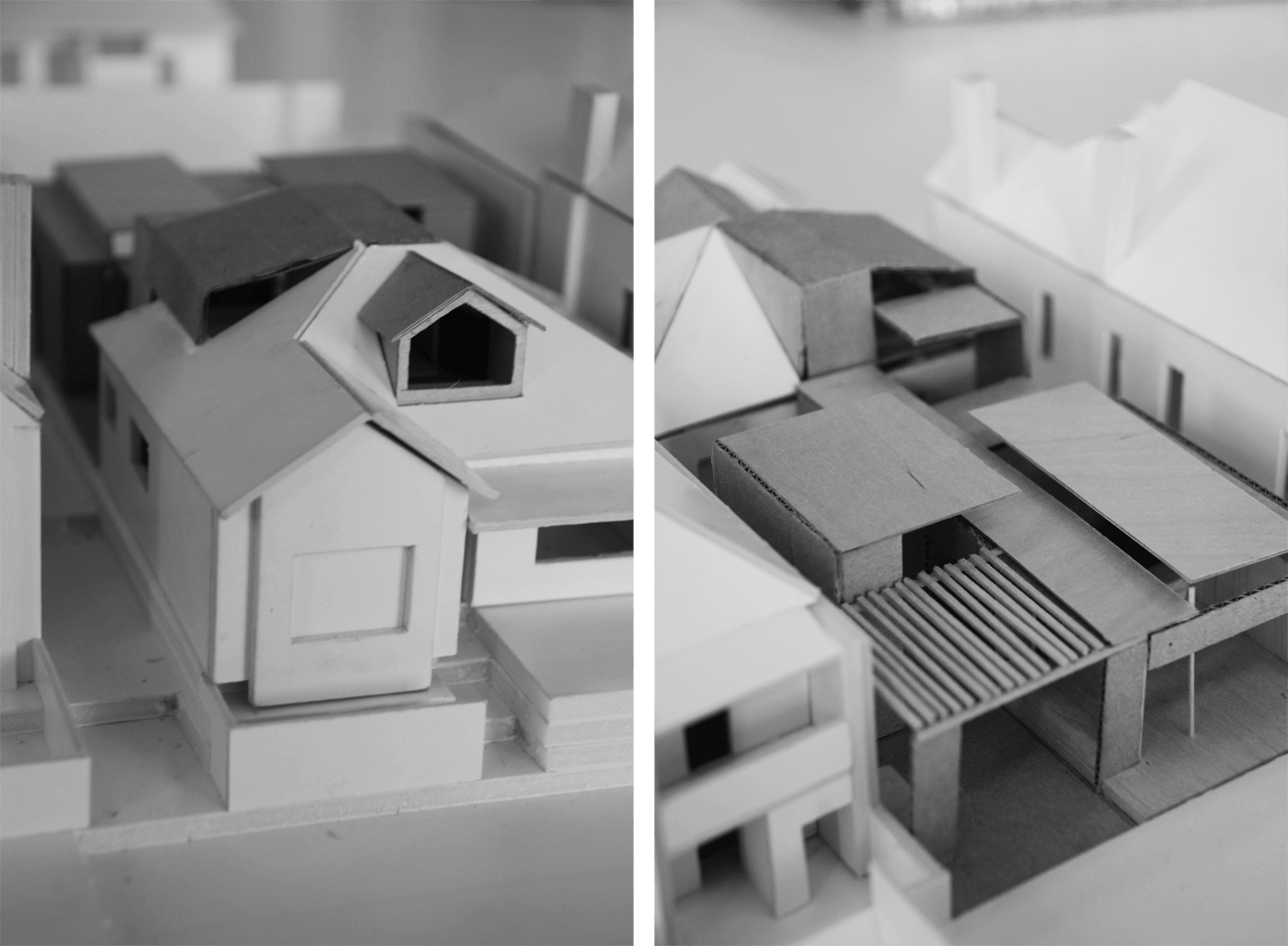 Smee Schoff House by Sam Crawford Architects, photos of hand built balsa models.