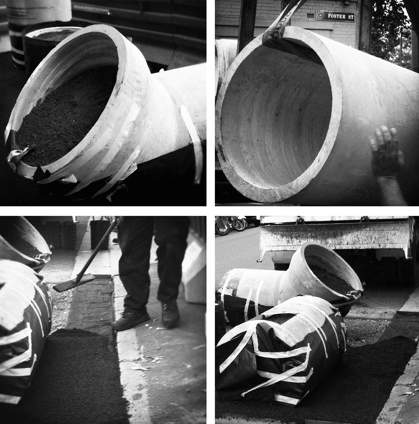 Edible Outdoor Rooms by Sydney award winning architecture office Sam Crawford Architects. Fabrication and transportation of concrete pipes