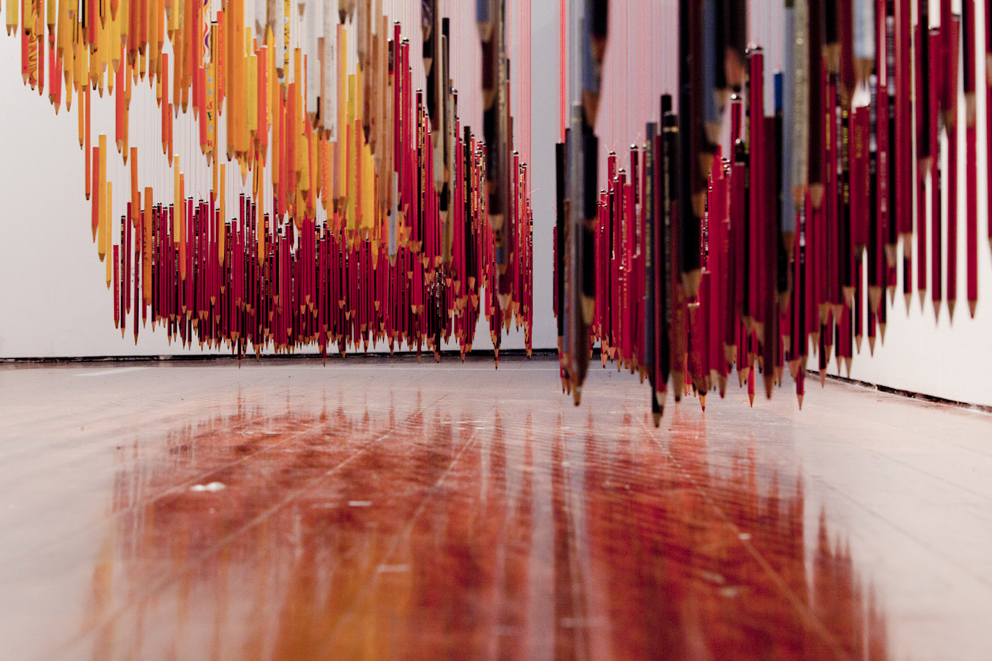 Much Lead installation by Sydney award winning architecture office Sam Crawford Architects. Various Farb riese coloured pencils donated by artists, designers, carpenters, schoolchildren.