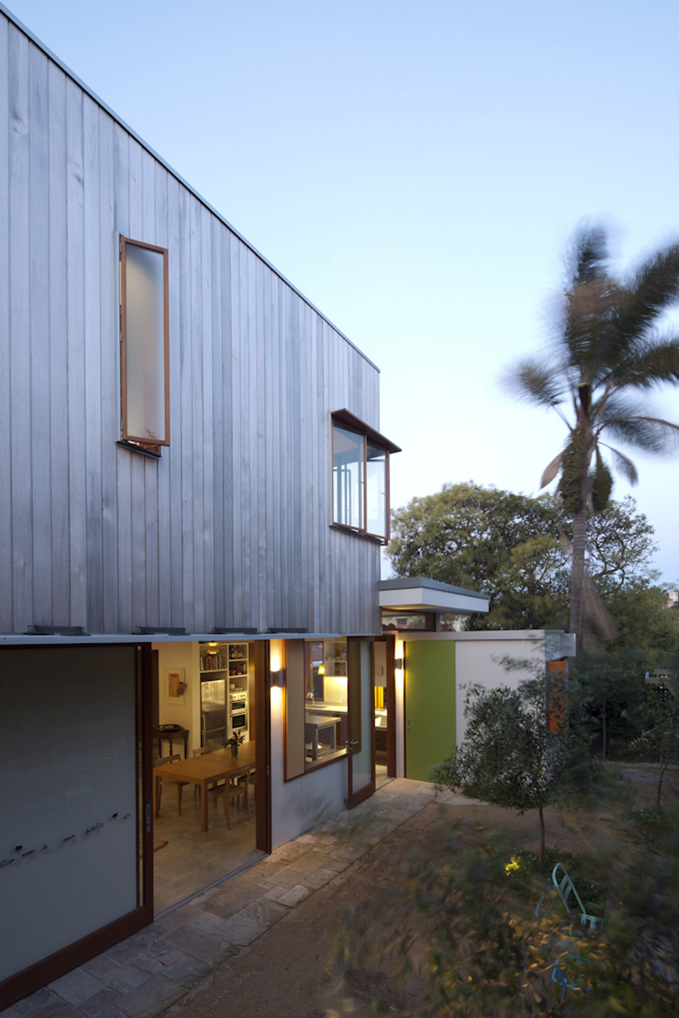 Campbell House by award winning Sydney residential architecture firm Sam Crawford Architects. Timber cladded addition to the existing house