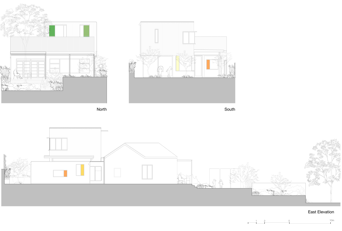 Campbell House by award winning Sydney residential architecture firm Sam Crawford Architects. Elevations showing location of coloured opening
