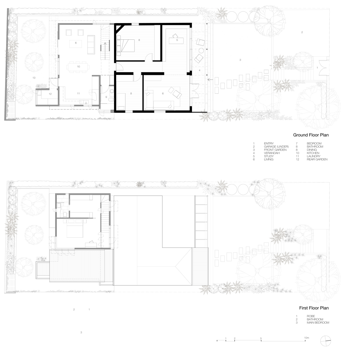 Campbell House by award winning Sydney residential architecture firm Sam Crawford Architects. Floor Plans of the house shows a modest living space in harmony with the landscaping.