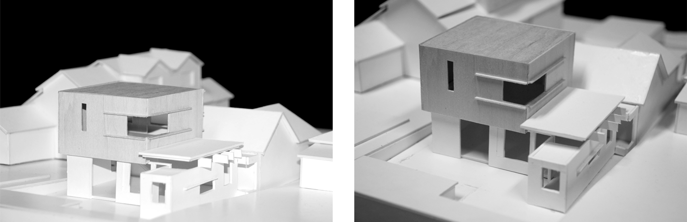 Campbell House by award winning Sydney residential architecture firm Sam Crawford Architects. Balsa wood and white card model shows the rear additions to the house