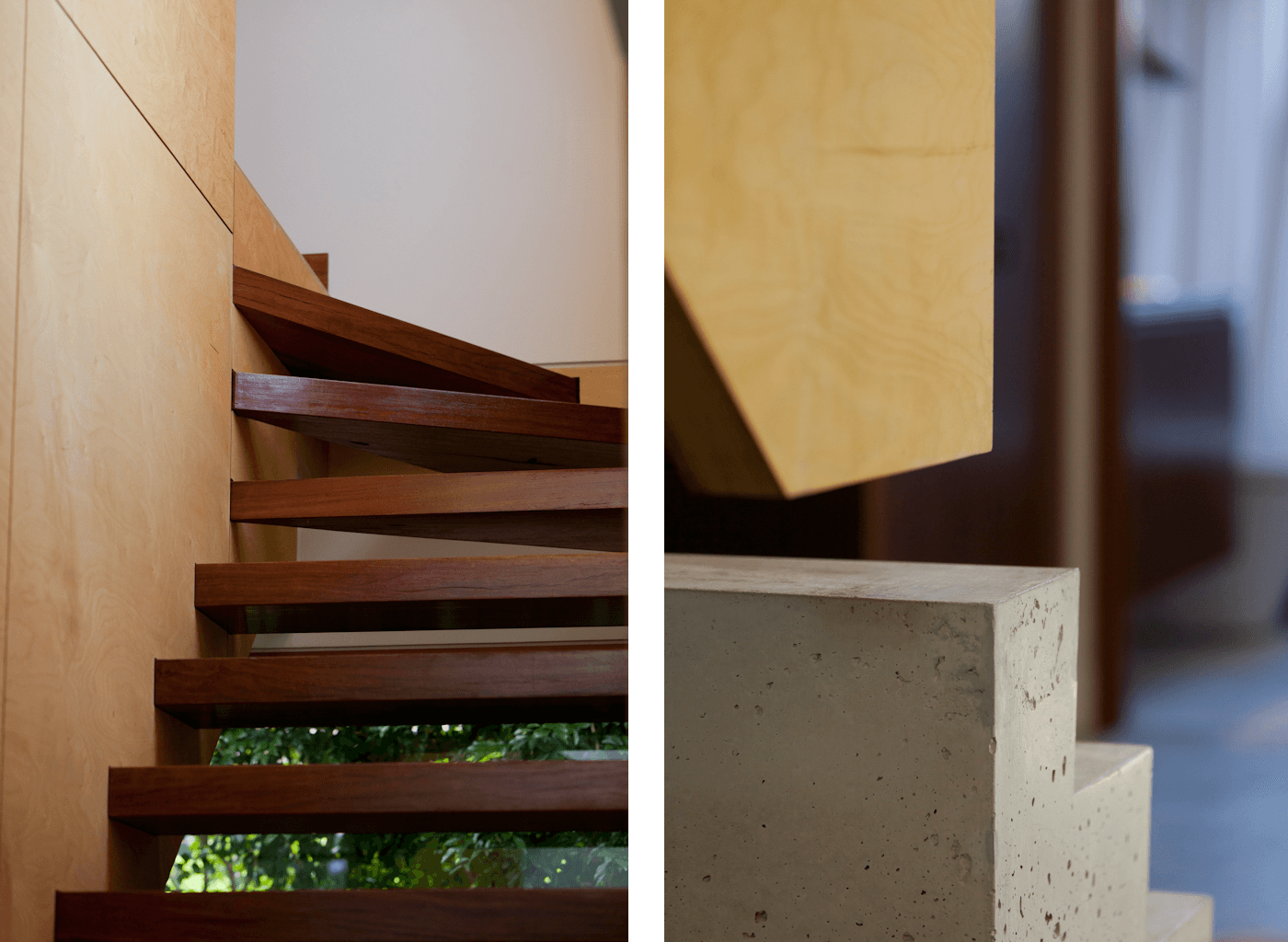 Campbell House by award winning Sydney residential architecture firm Sam Crawford Architects. Detail of solid concrete pedestal and suspended plywood stairs