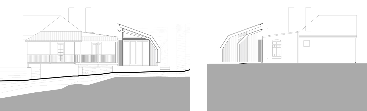 Wave House by Sydney award winning residential architecture firm Sam Crawford Architects. Section drawing illustraates the meeting of old house and its new addition.