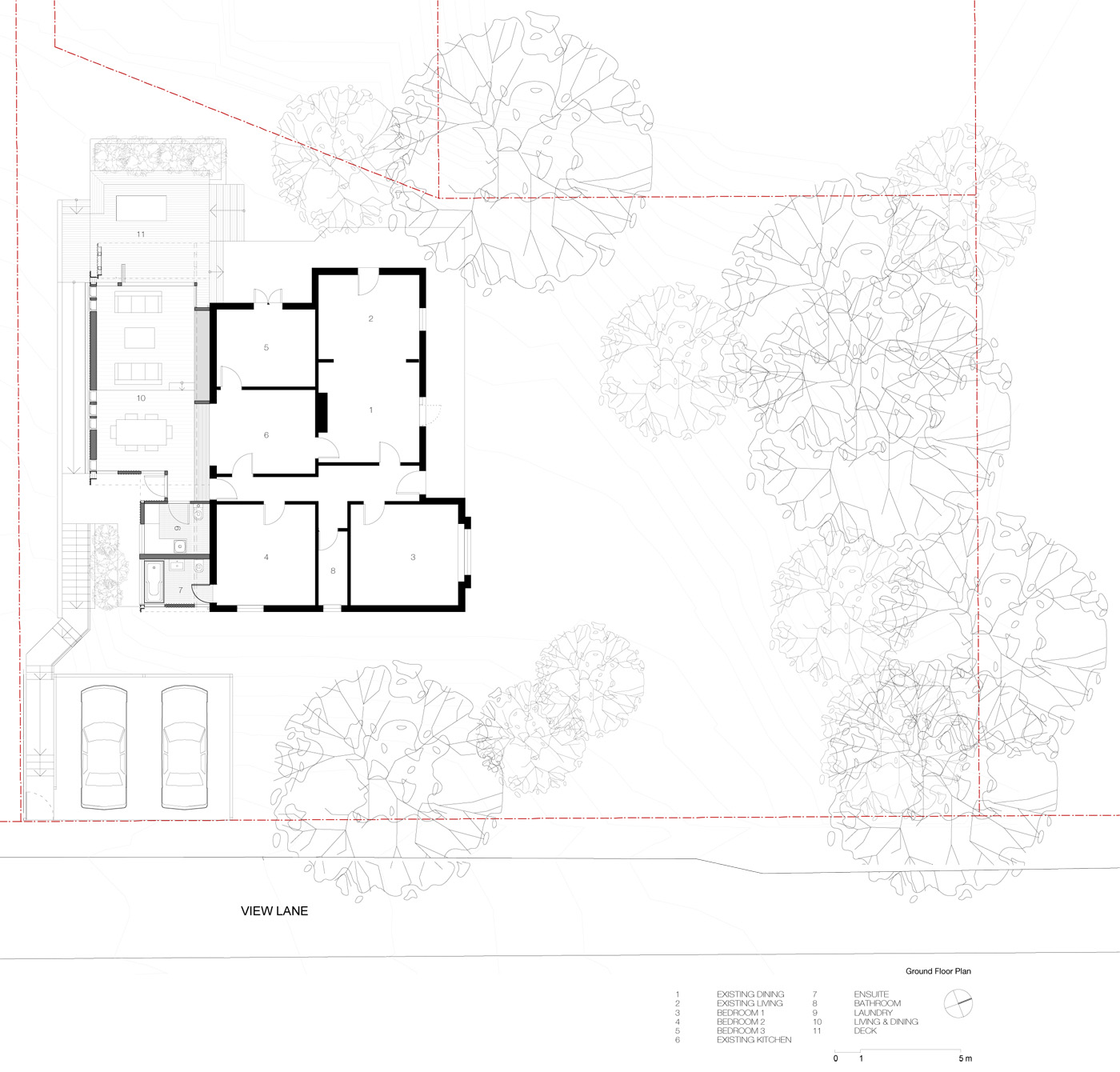 Wave House by Sydney award winning residential architecture firm Sam Crawford Architects. Ground floor plan illustrate the meeting of old house and its new addition.