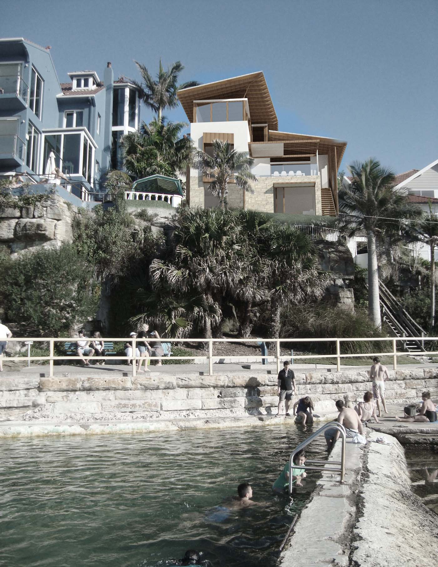 The Bower by Sam Crawford Architects, photoshop render view from marine pools in Cabbage Tree Bay