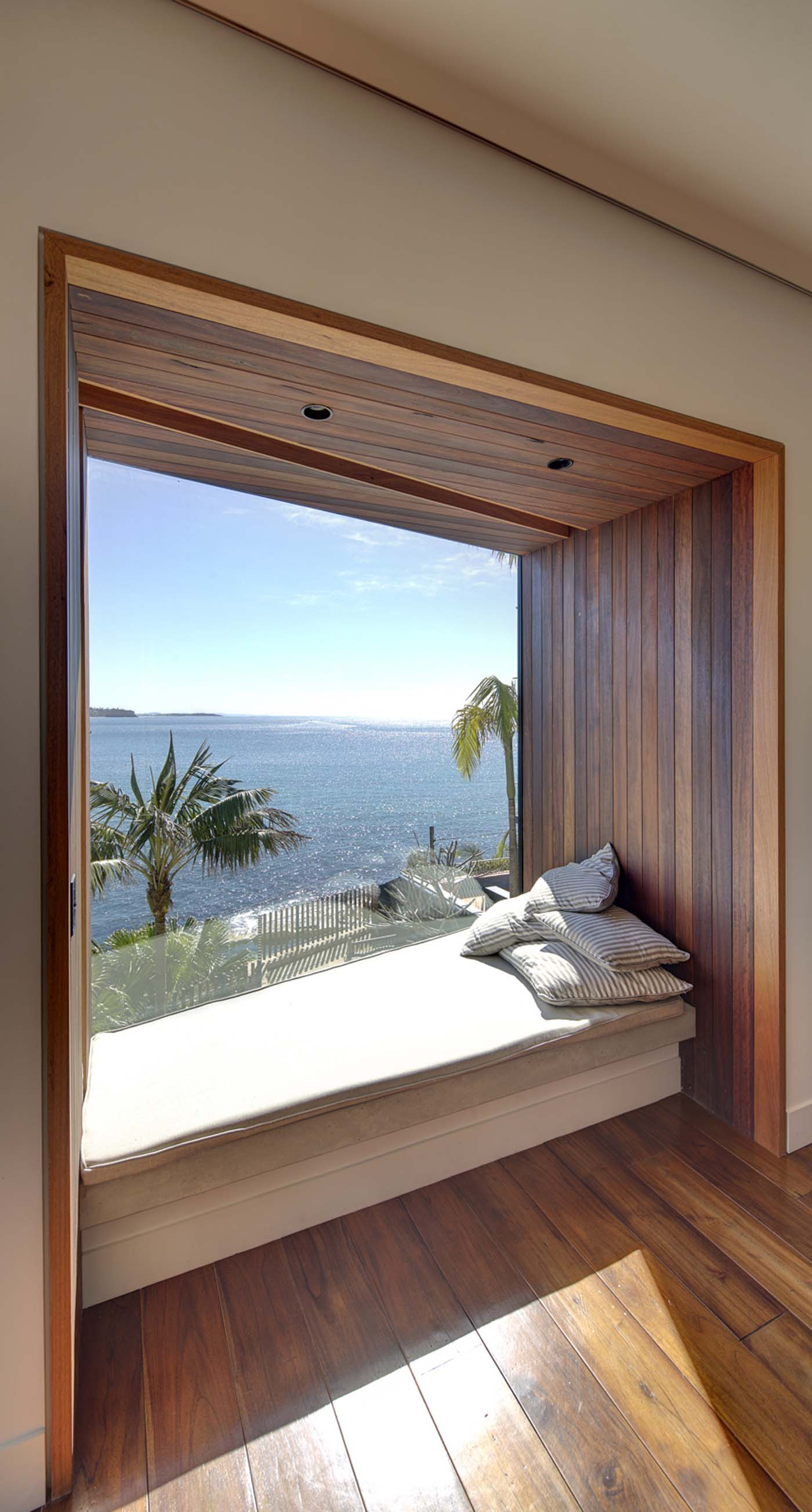 The Bower by Sam Crawford Architect, window seat overlooking Cabbage Tree Bay