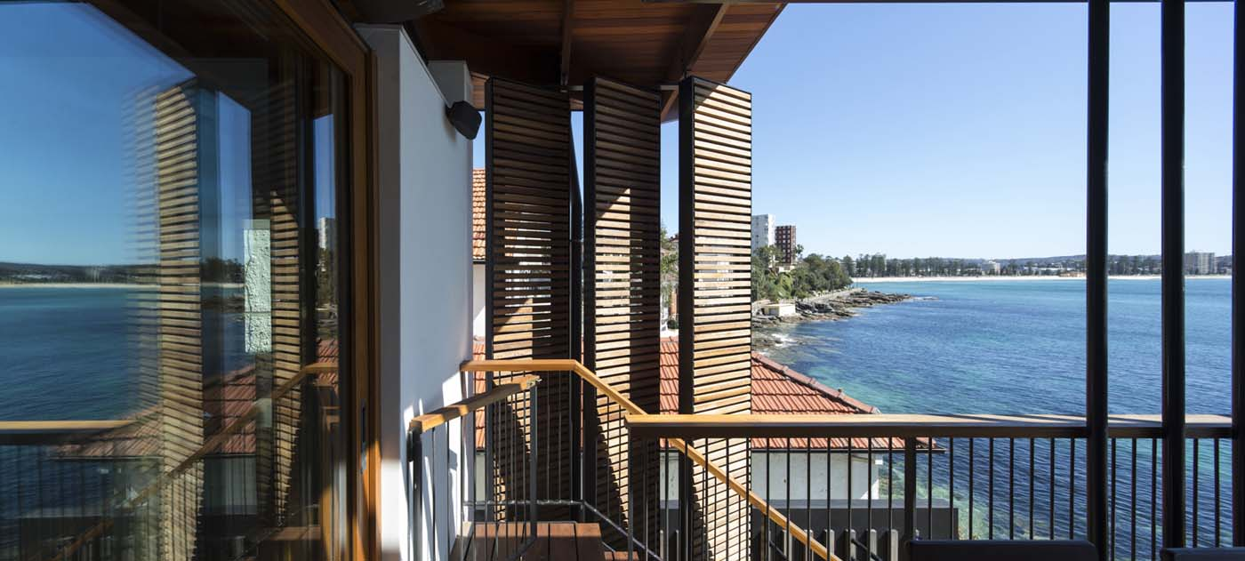The Bower by Sam Crawford Architect, wooden balcony and lourves