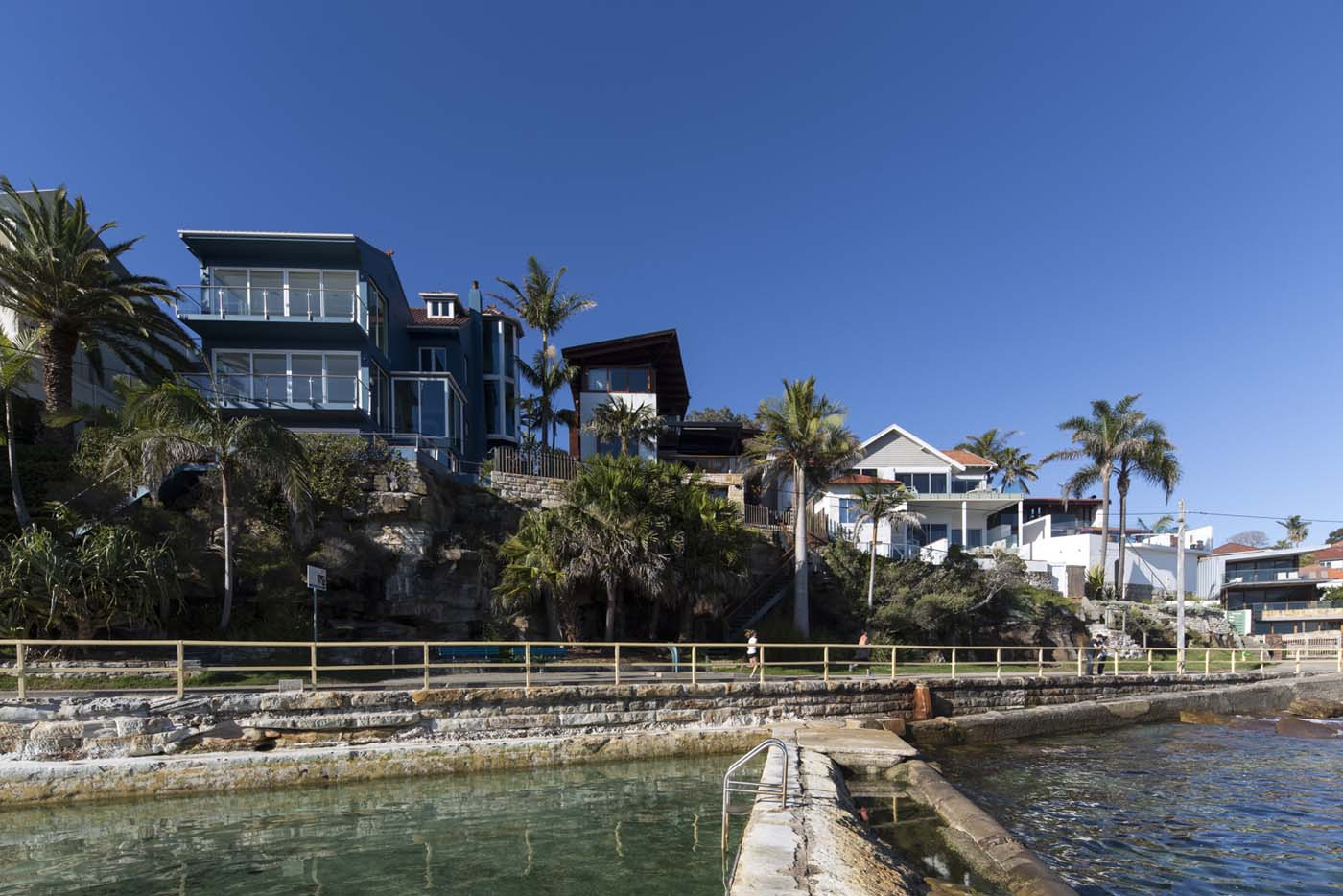 The Bower by Sam Crawford Architects, view from marine pools in Cabbage Tree Bay
