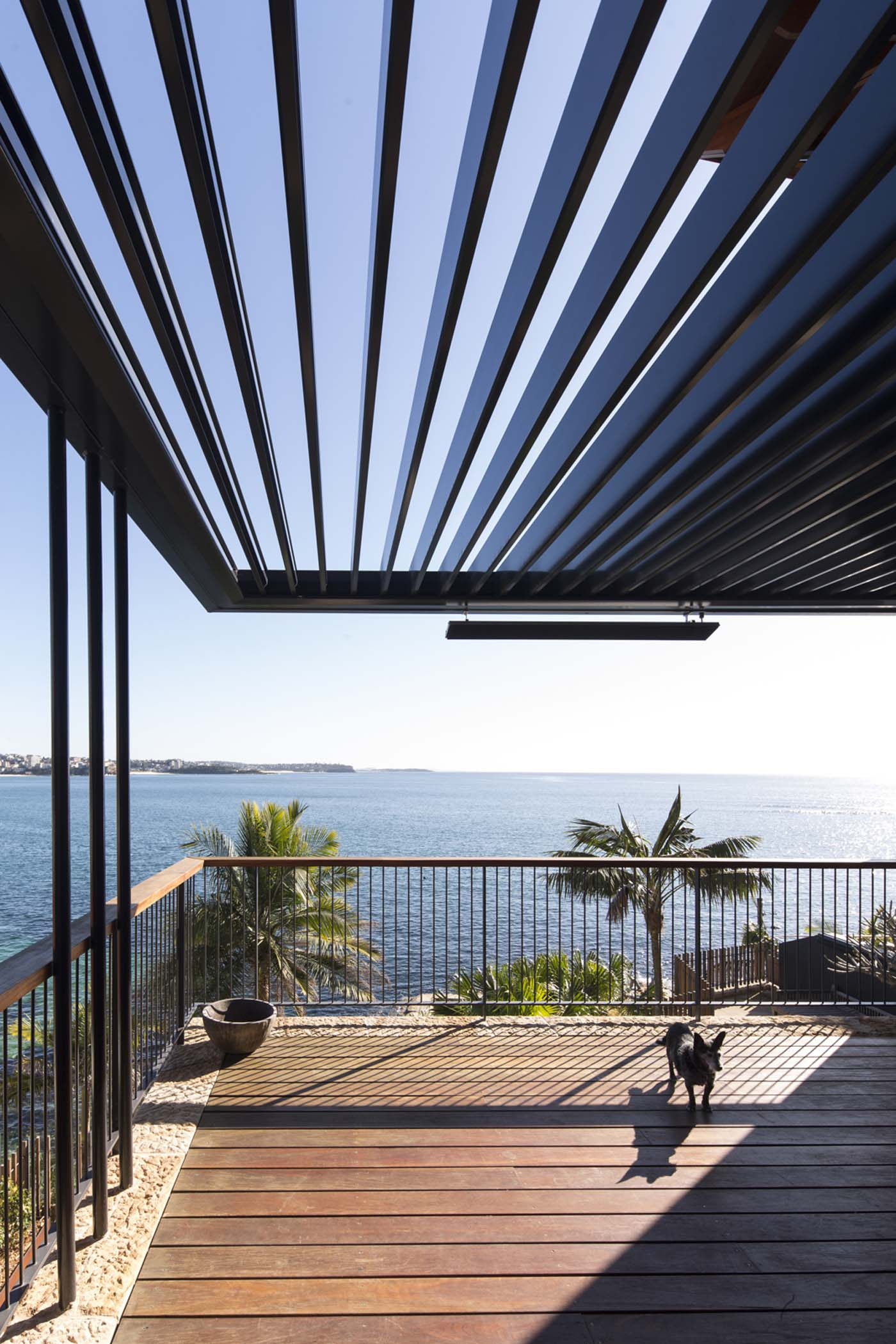 The Bower by Sam Crawford Architect, wooden blacony overlooking Cabbage Tree Bay
