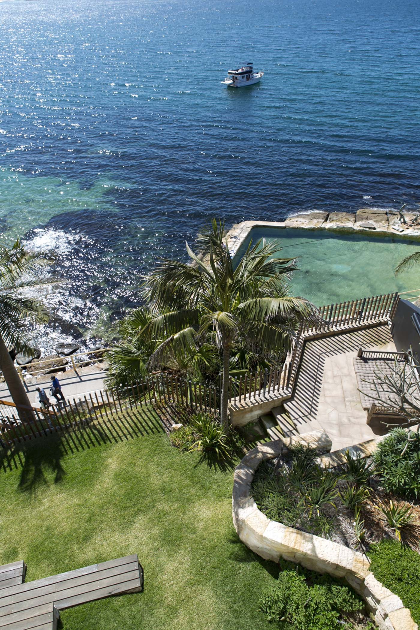 The Bower by Sam Crawford Architect, view of backyard spaces in relationship to Cabbage Tree Bay