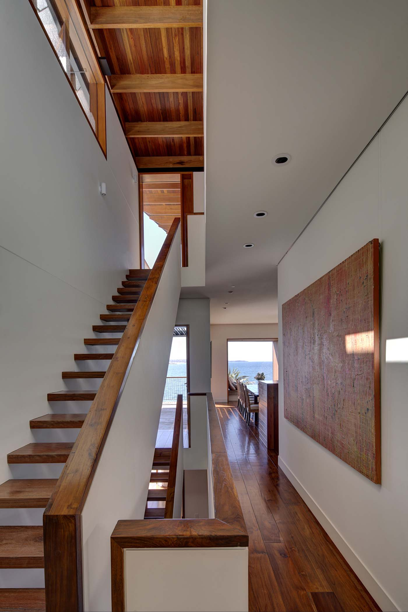 The Bower by Sam Crawford Architect, wooden interior of circulation spaces