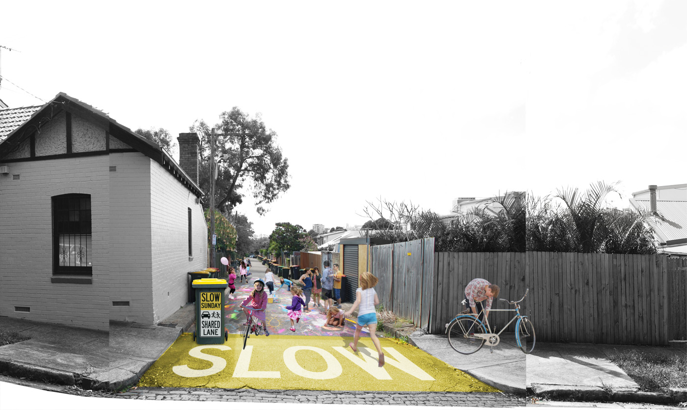 Architecture on Show by Sydney award winning architecture office Sam Crawford Architects. Photo montage of concept with children playing on the streets.