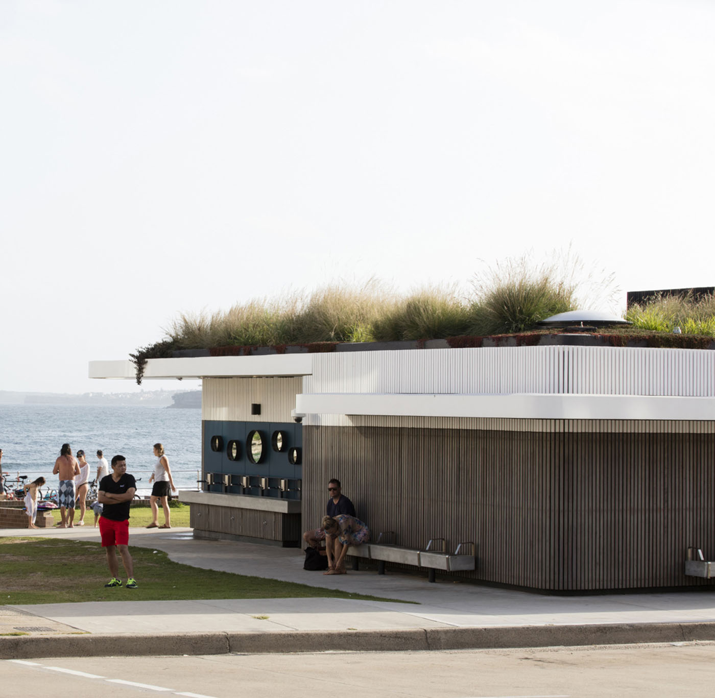North Bondi Amenities, a public project by award winning Sam Crawford Architects. Green roof is a highlight.