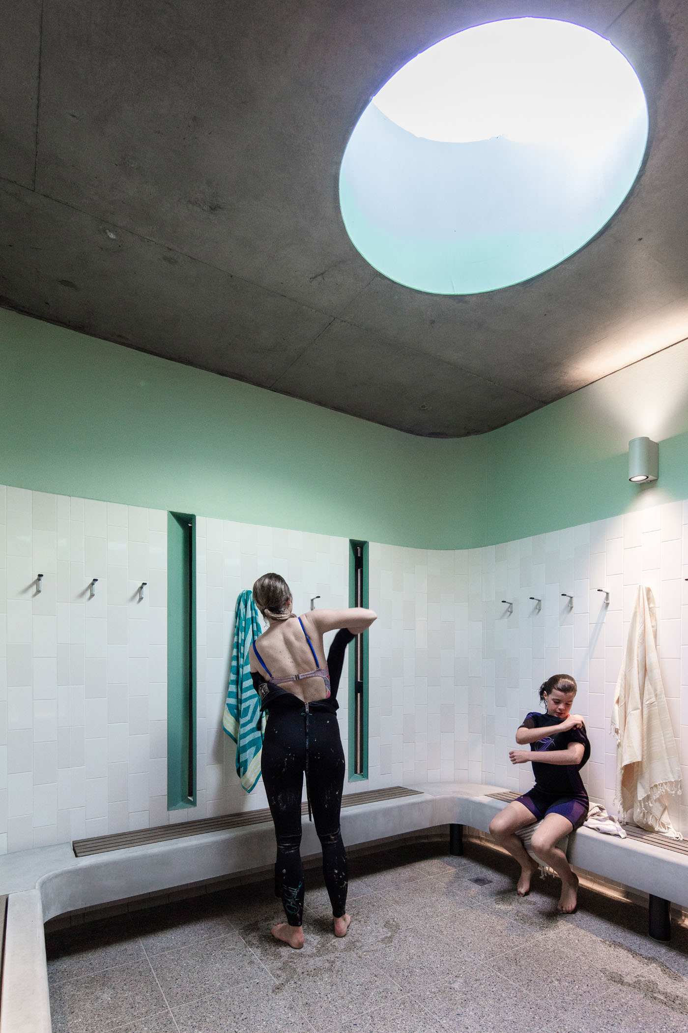 North Bondi Amenities, a public project by award winning Sam Crawford Architects. Interior of the change rooms with a great quality of light.