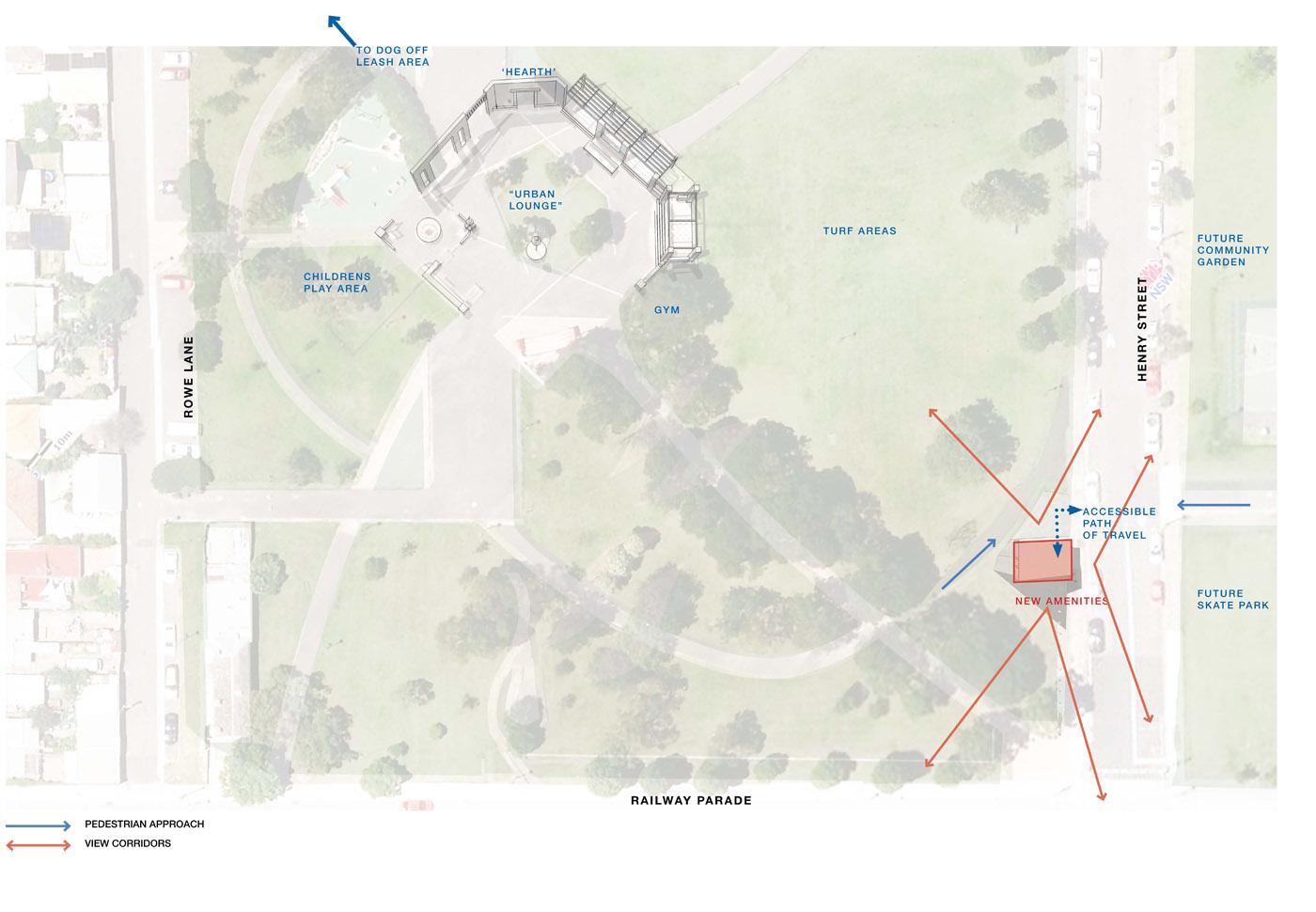 Sydenham Green Amenities by Sam Crawford Architects, Sydney. Site plan.