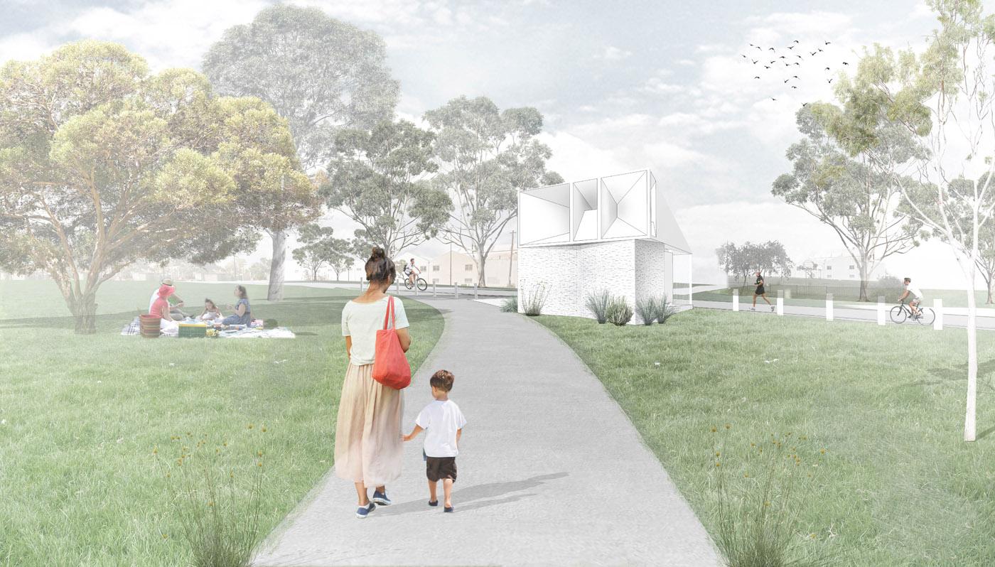 Sydenham Green Amenities by Sam Crawford Architects, Sydney. Architectural render.
