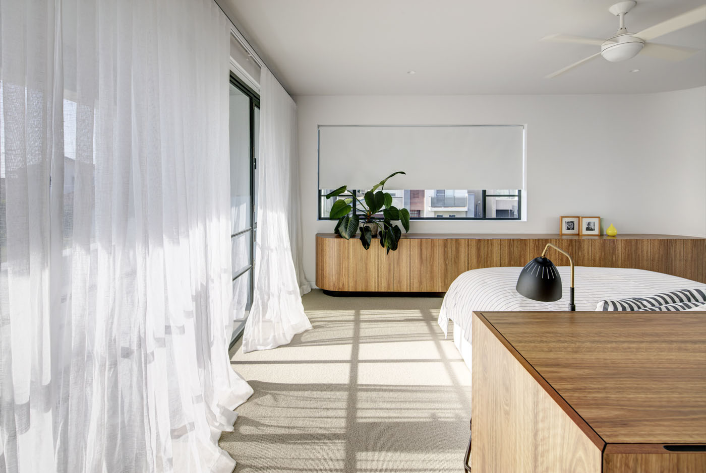 Conway Atkins House in Dover Heights by Sydney architect Sam Crawford Architect. The new bedroom looks both to the eastern sea and towards the city skyline.