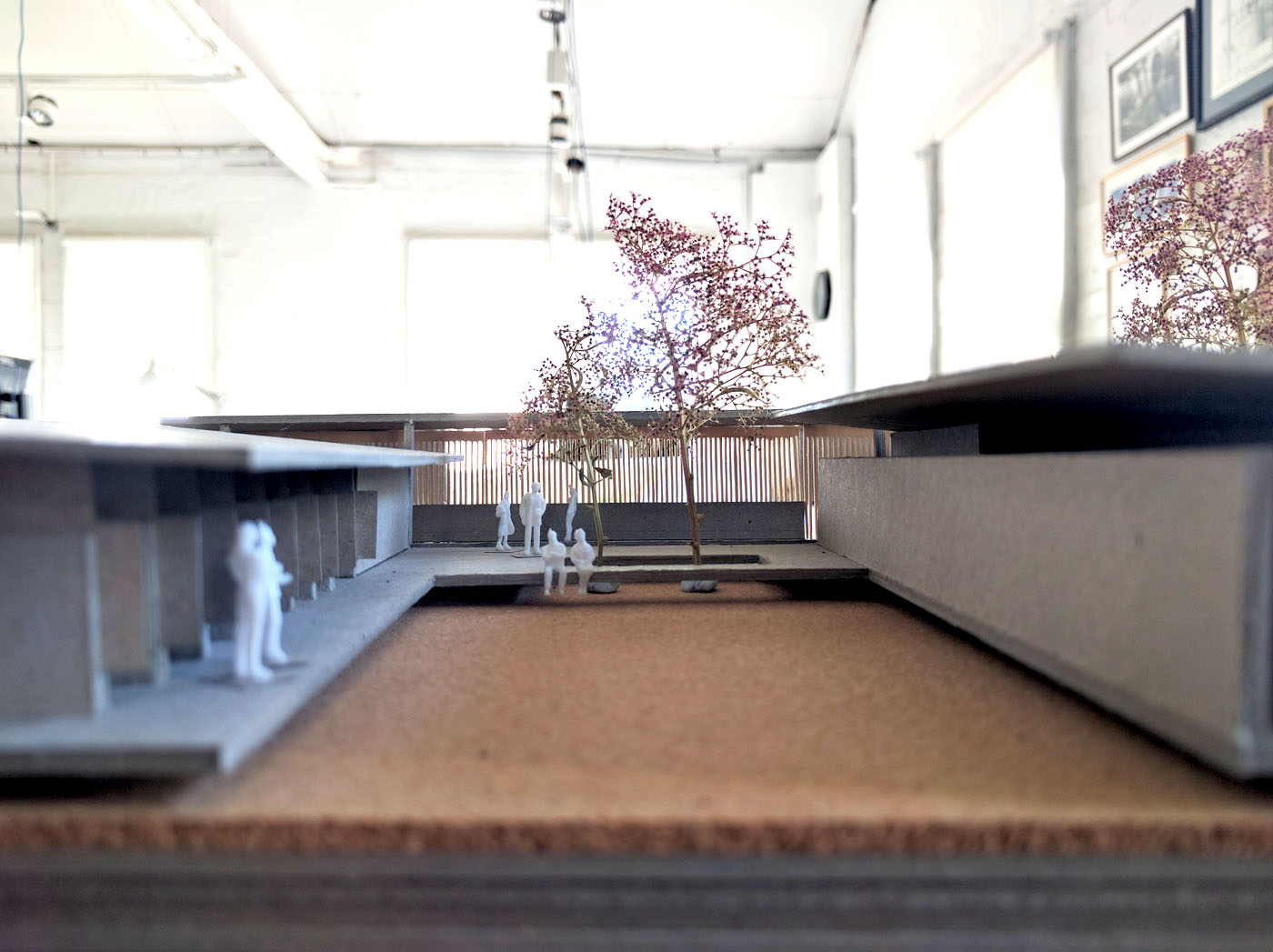 The Shelter by Sam Crawford Architects, 1:100 boxboard and cork model of dog kennels