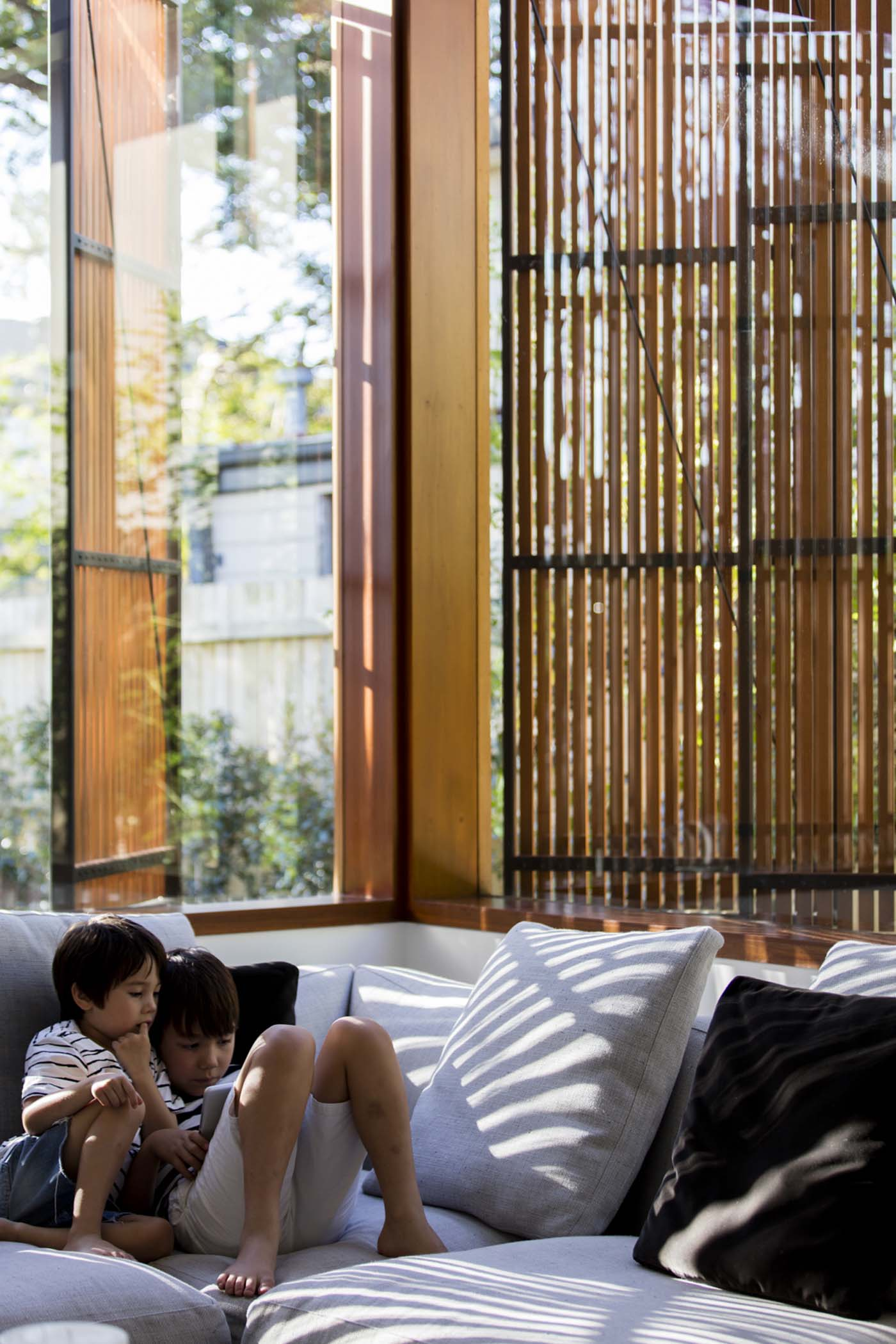 Sung Dobson house by Sam Crawford Architects, Sydney. Casement shutters.