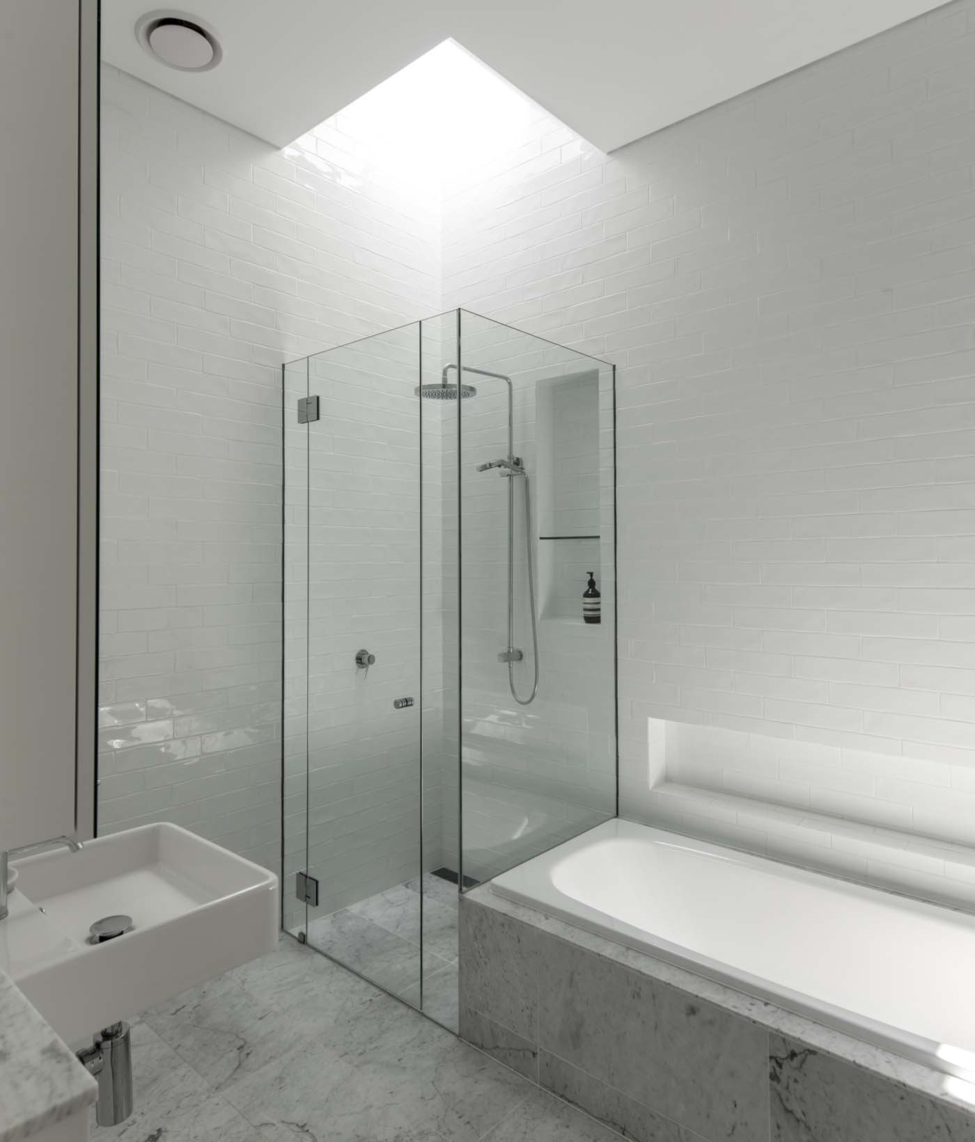 Sung Dobson house by Sam Crawford Architects, Sydney. Bathroom skylight.
